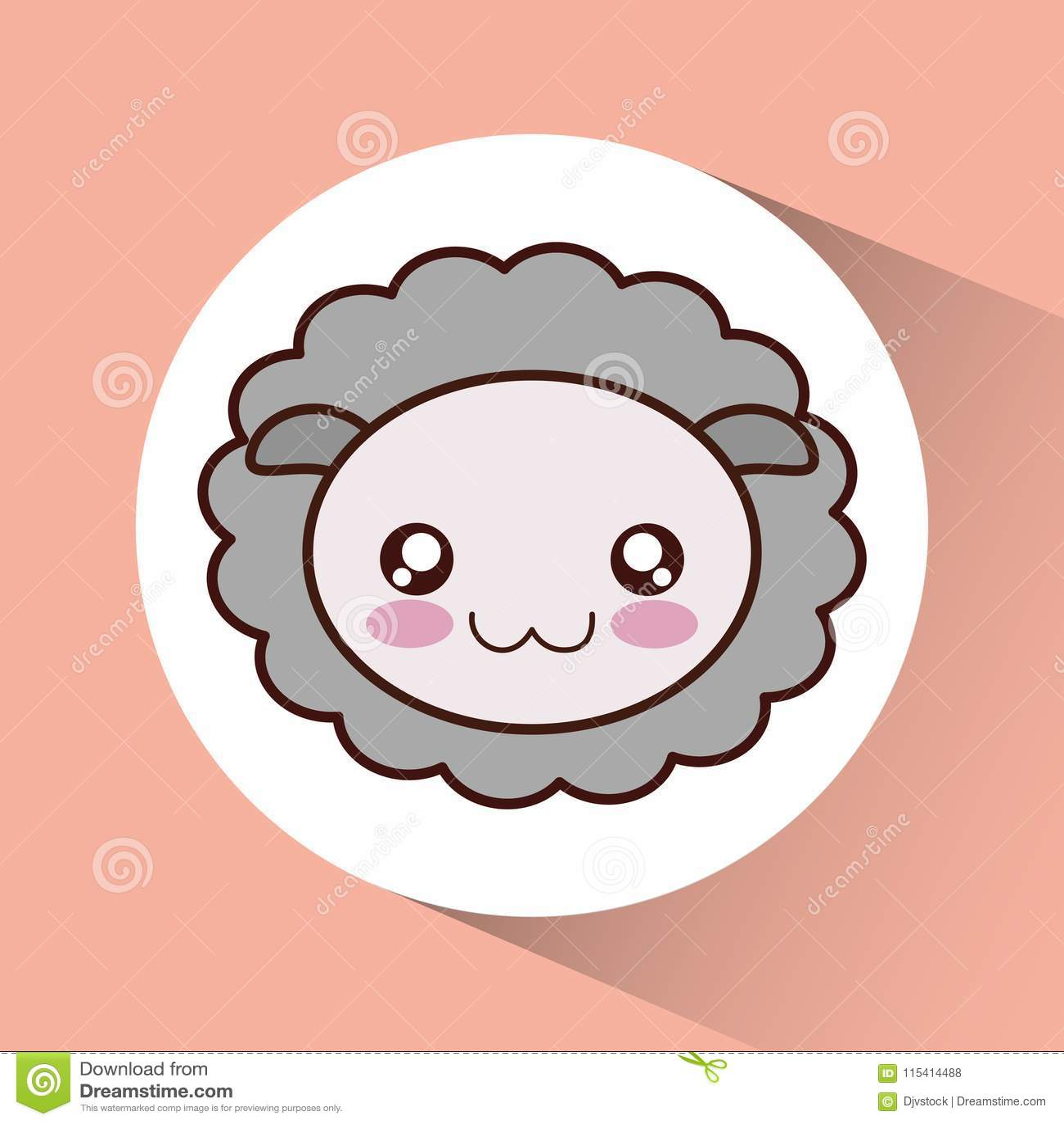 Kawaii Sheep Icon Cute Animal Vector Graphic Stock Vector