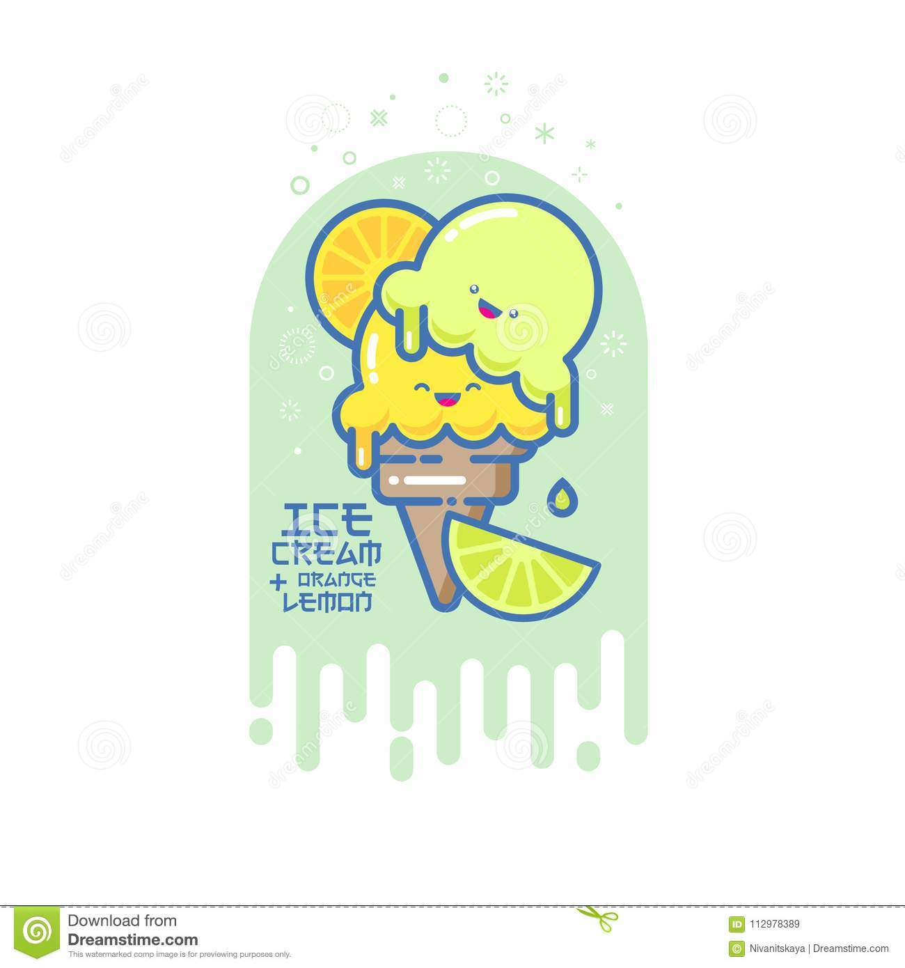 Japanese style illustration. Colorful ice cream with oranges and limes on a cone. Japanese style picture.