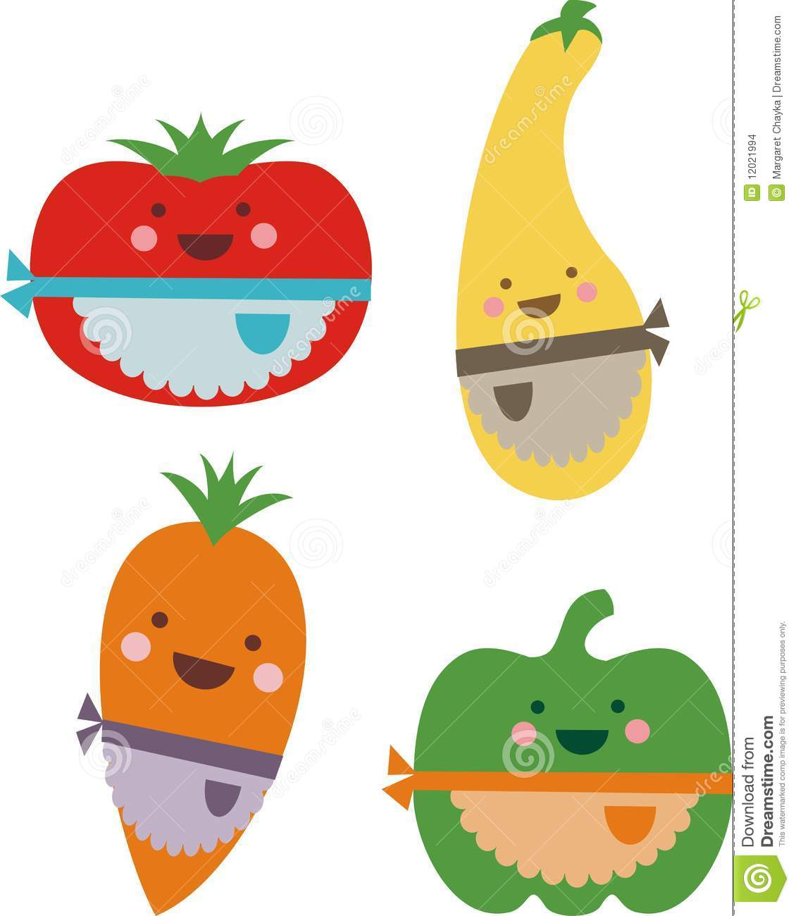 Kawaii Smiling Happy Vegetables Cooking Aprons Stock ... Happy Vegetables