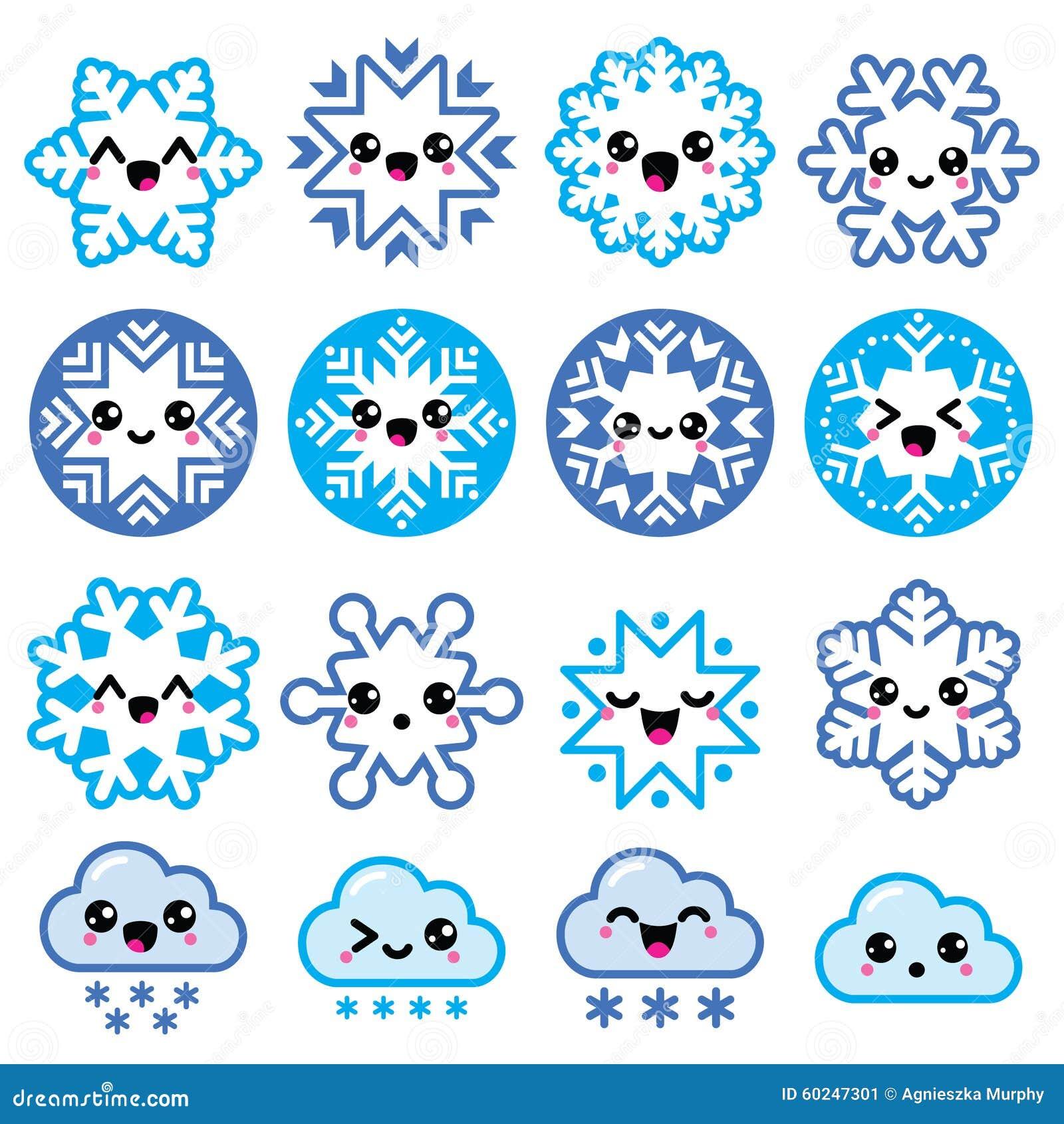 kawaii snowflakes  clouds with snow christmas  winter Snowman Emoji Santa Claus Emoticon