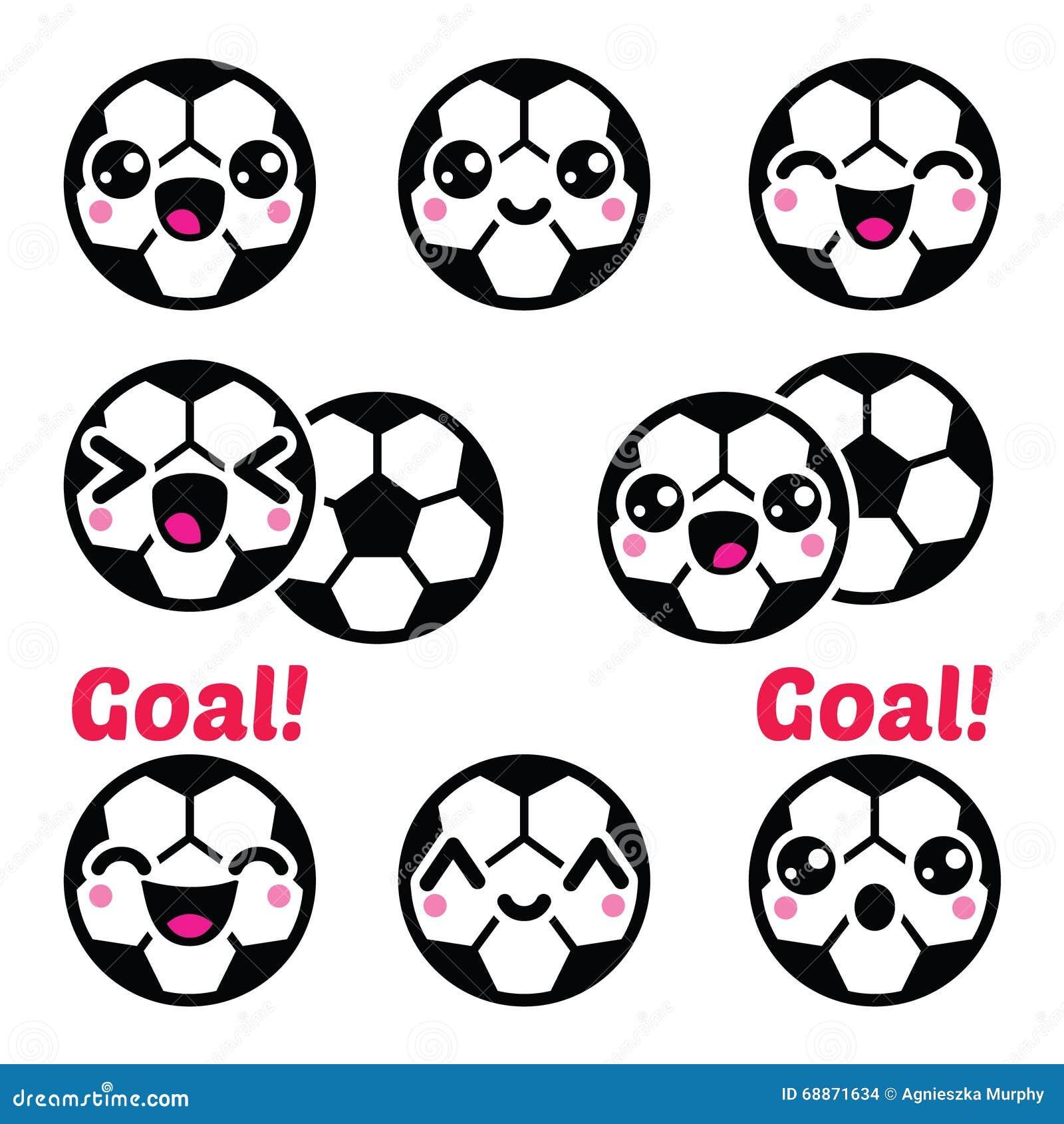 Kawaii Soccer Ball Football Icons Set Illustration 68871634