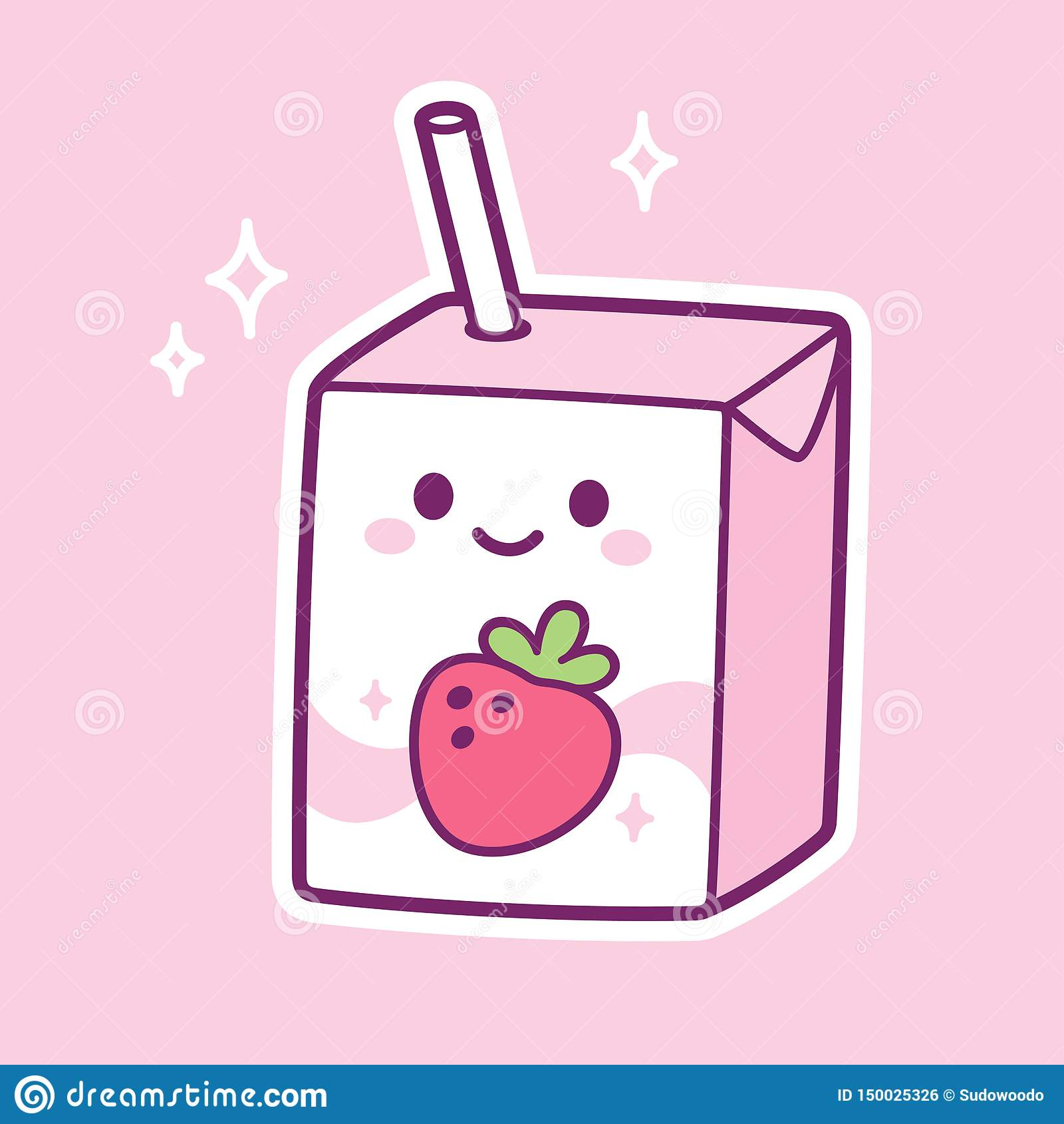 Kawaii Strawberry Milk Stock Vector Illustration Of Kids 150025326