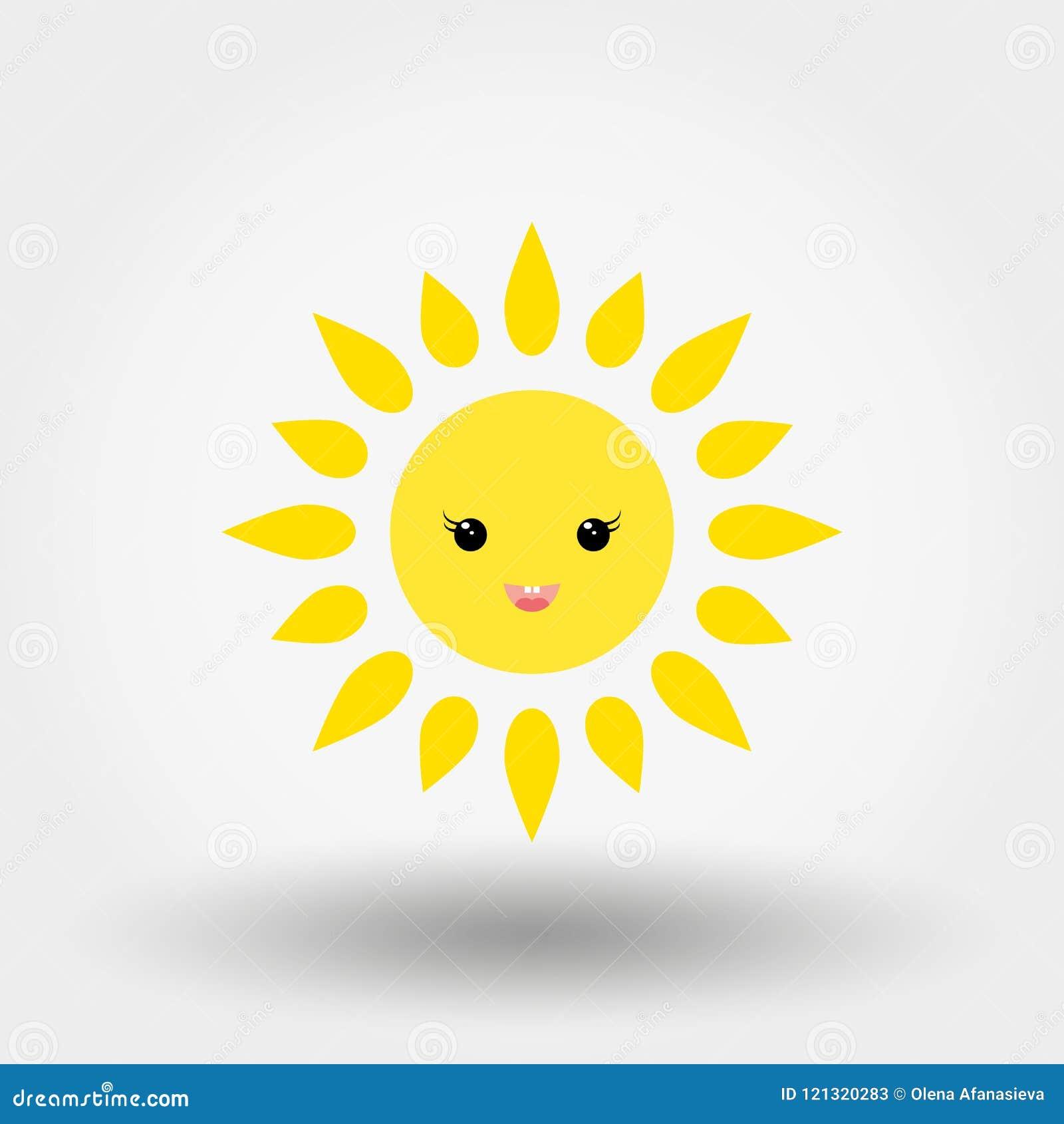 Kawaii Sun Icon Vector Flat Stock Illustration