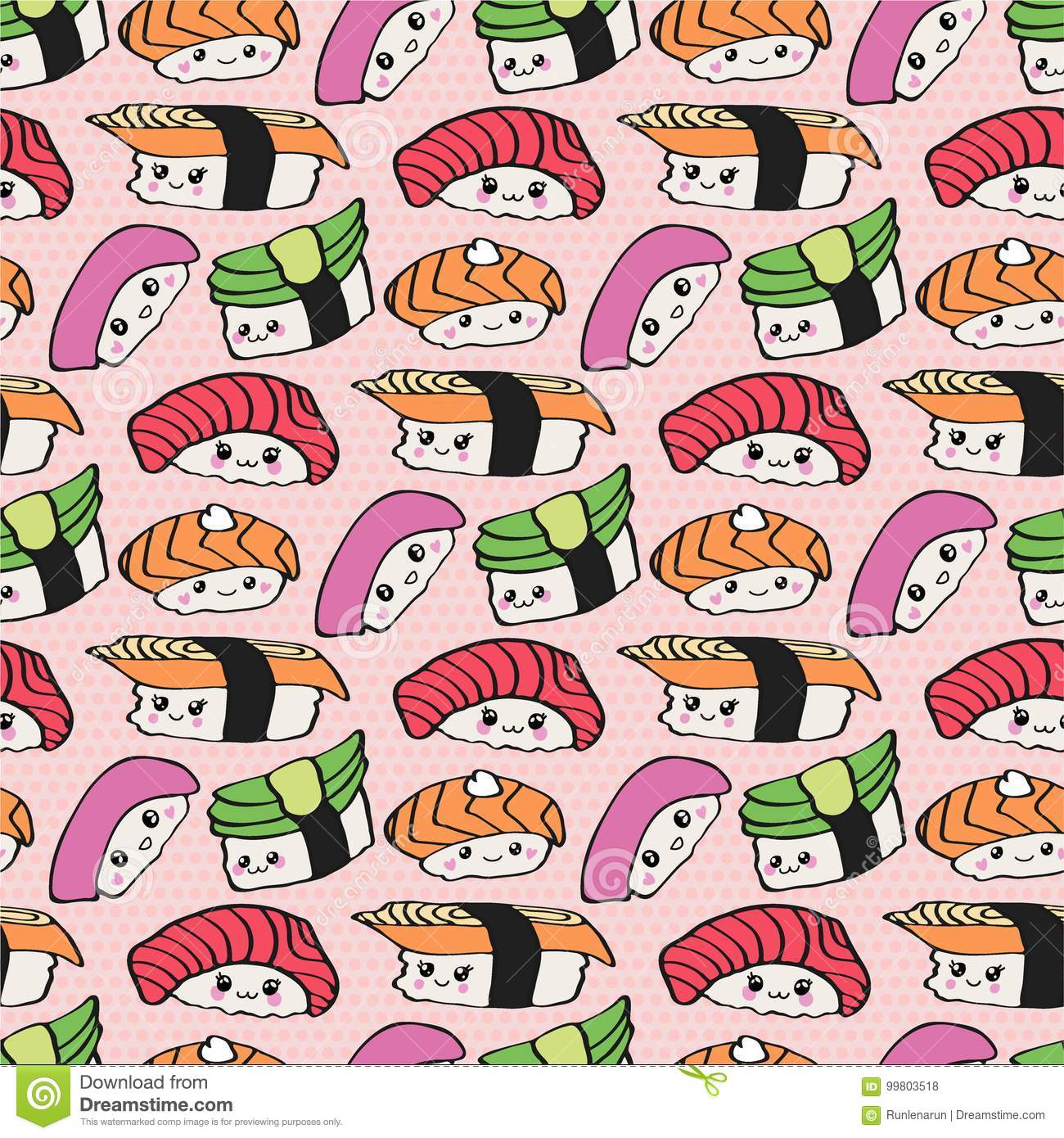 Kawaii Sushi Seamless Pattern Stock Illustration
