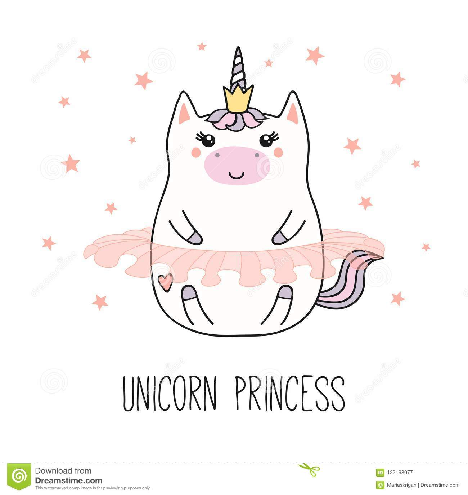 Kawaii Unicorn Princess Stock Vector Illustration Of Girl 122198077