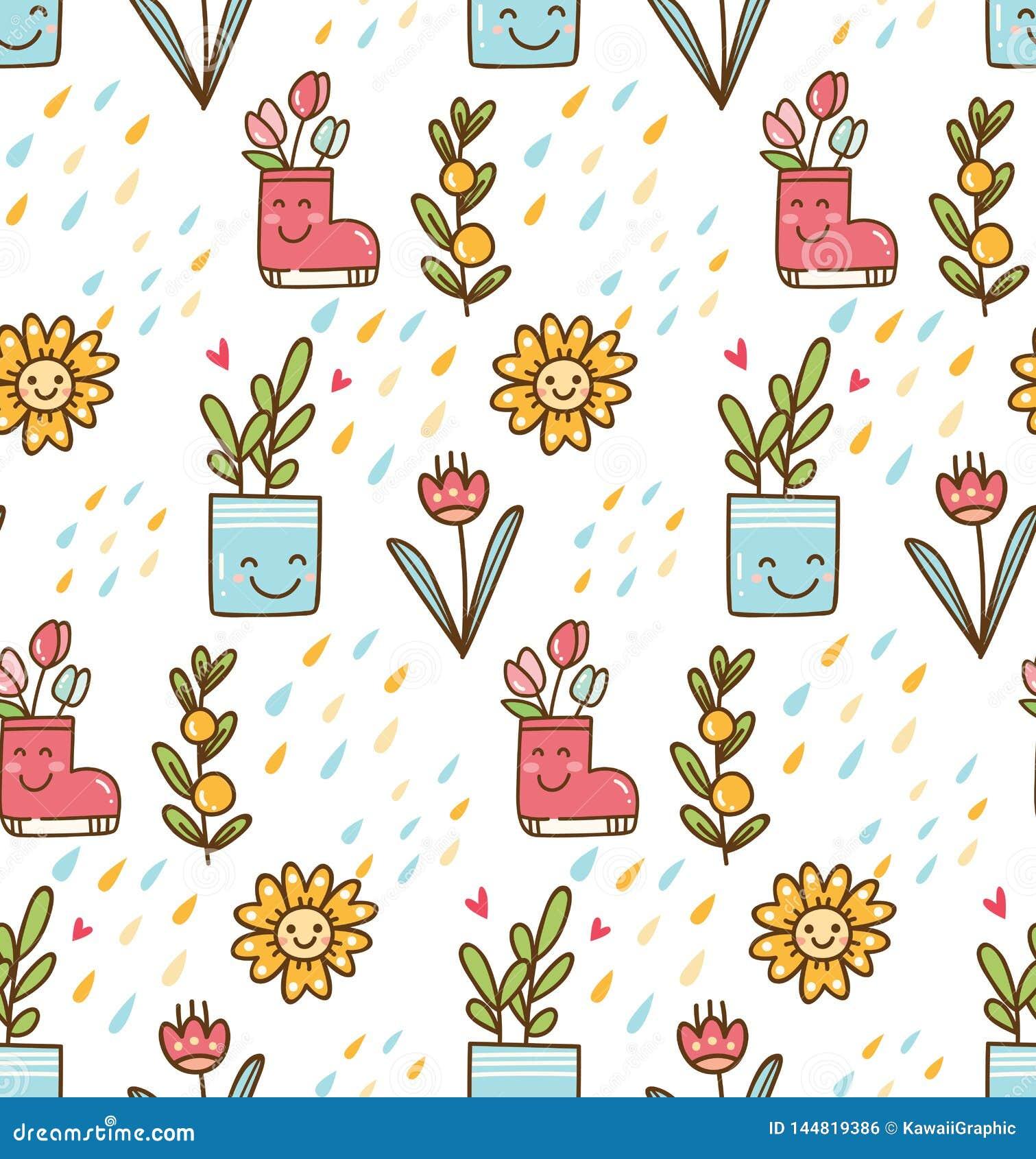 Kawaii v?r med blomma- och f?gelbakgrund