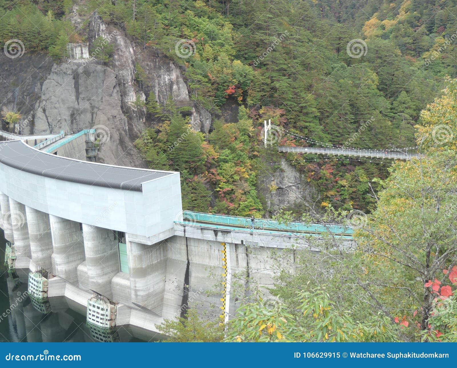 Kawamata fördämning- och upphängningbro på den Setoai-kyo kanjonen i Japan