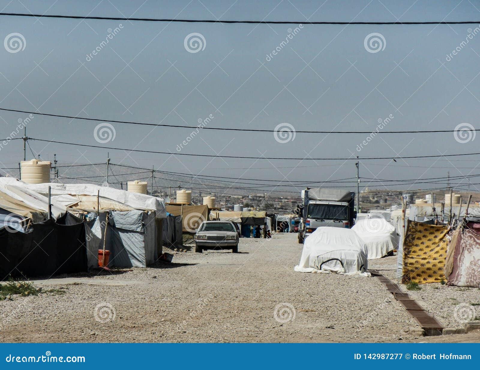 22 05 2017, Kawergosk, Iraque : O campo de refugiados abarrotado em Iraque com os refugiados que fogem de É ou estado islâmico