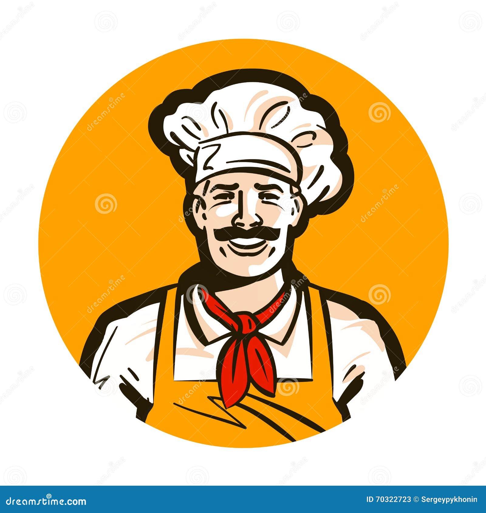 Kawiarnia, restauracyjny wektorowy logo gość restauracji, kucharz, szef kuchni ikona