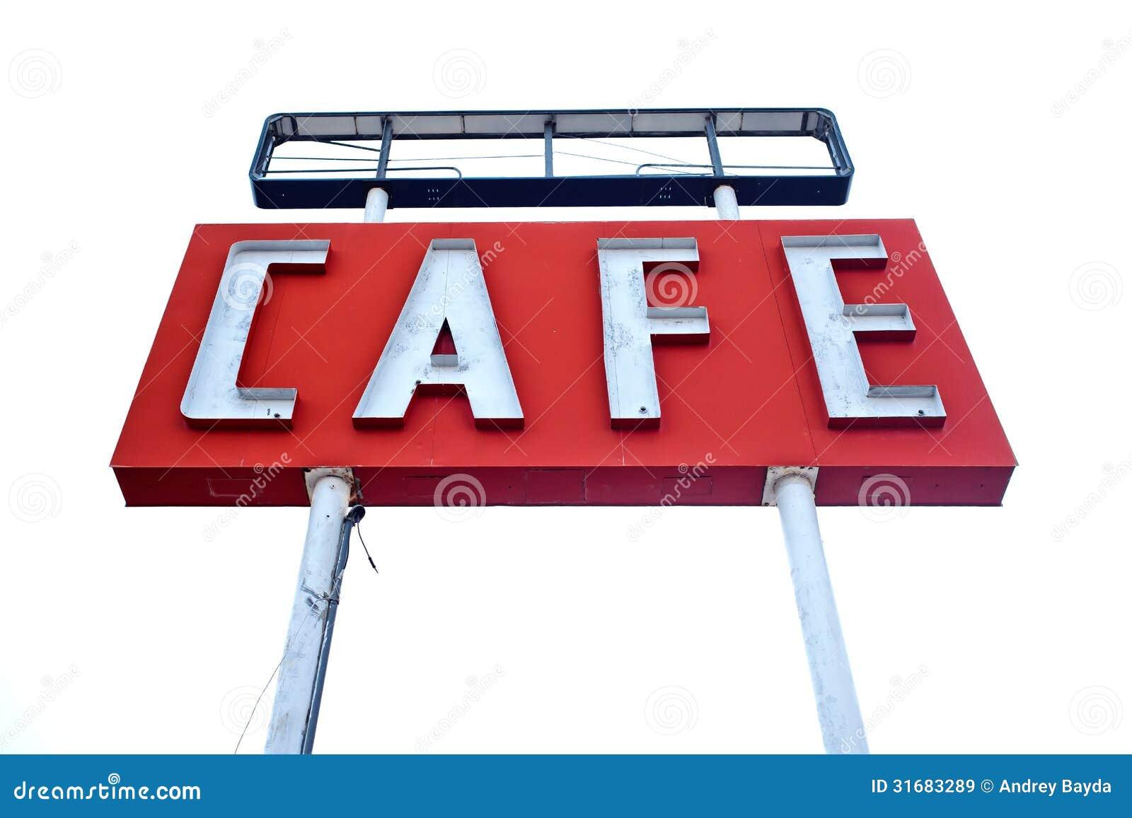 Kawiarnia znak wzdłuż historycznej trasy 66 w Teksas