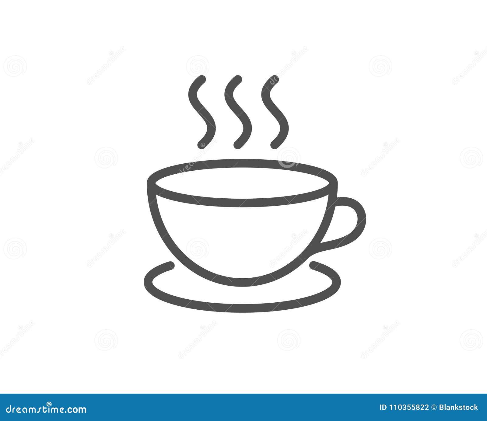 Kawowa napój linii ikona Gorący filiżanka znak