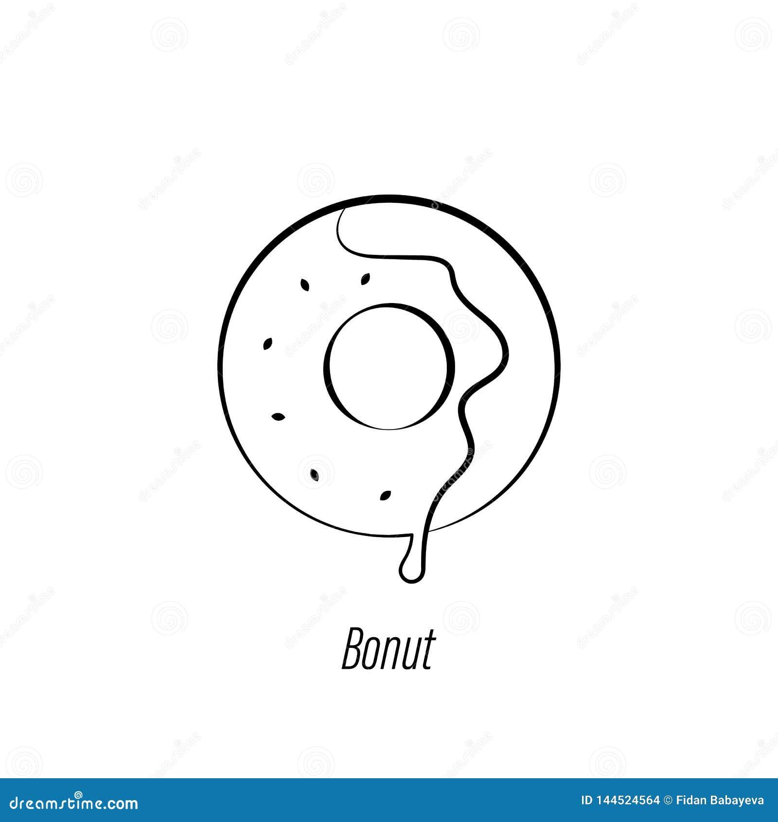 Kawowa p?czek r?ki remisu ikona Element kawowa ilustracyjna ikona Znaki i symbole mog? u?ywa? dla sieci, logo, mobilny app, UI, U