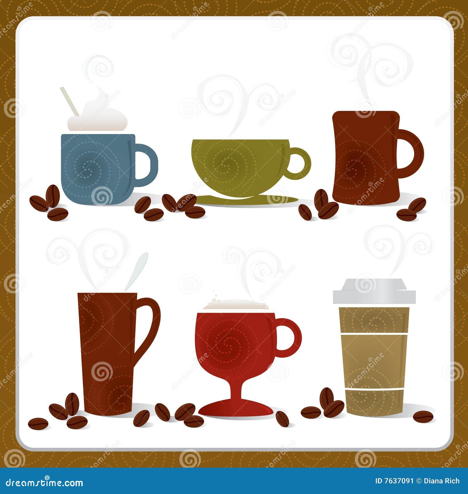 Kawowe kolorowe filiżanki