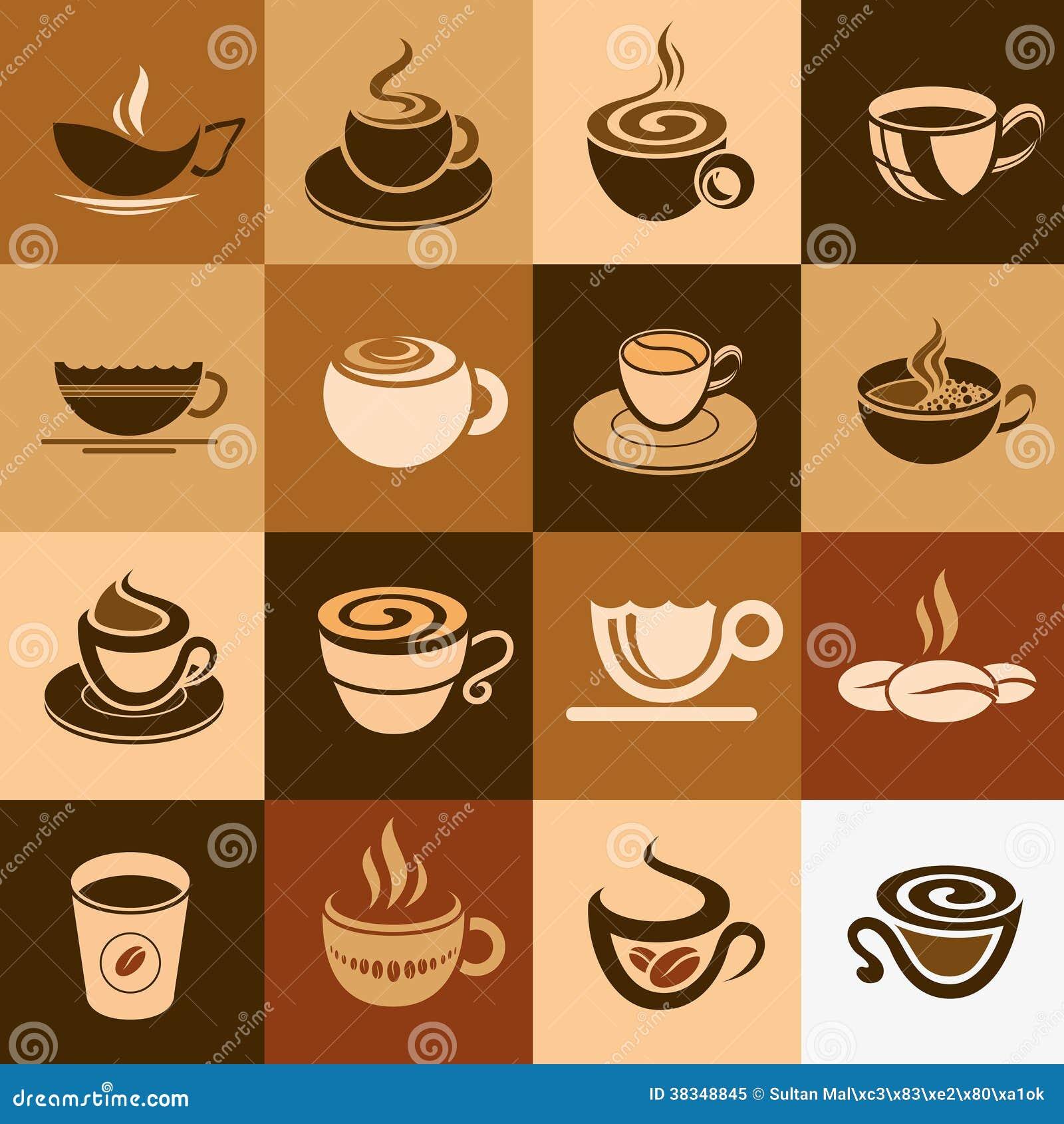 Kawowej i herbacianej filiżanki set, ikony kolekcja.