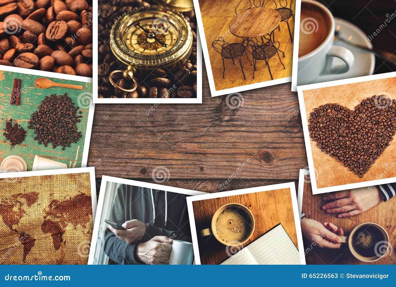 Kawowy fotografia kolaż
