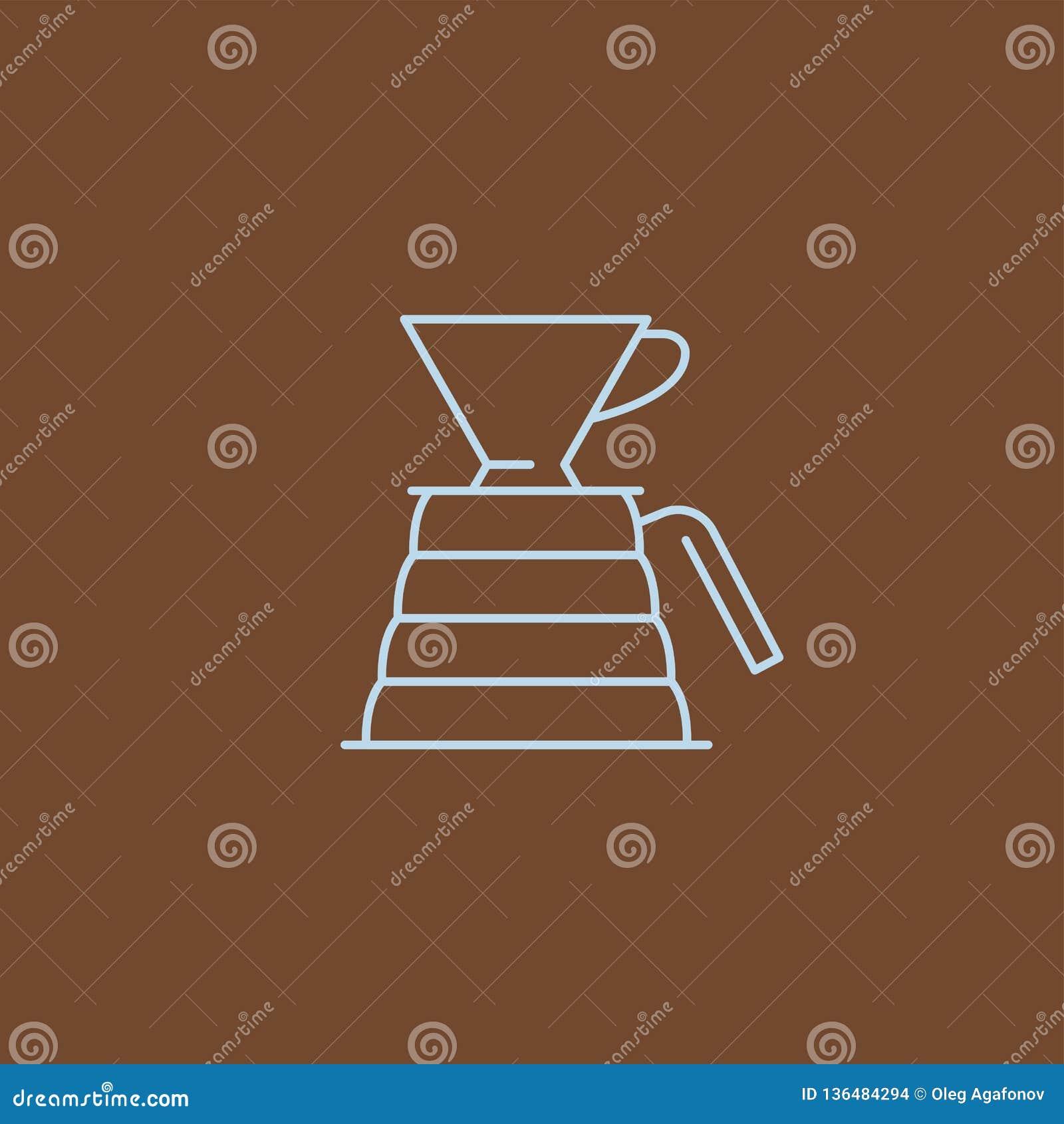 Kawowy ikona emblemat, liniowa cukierniana odznaka