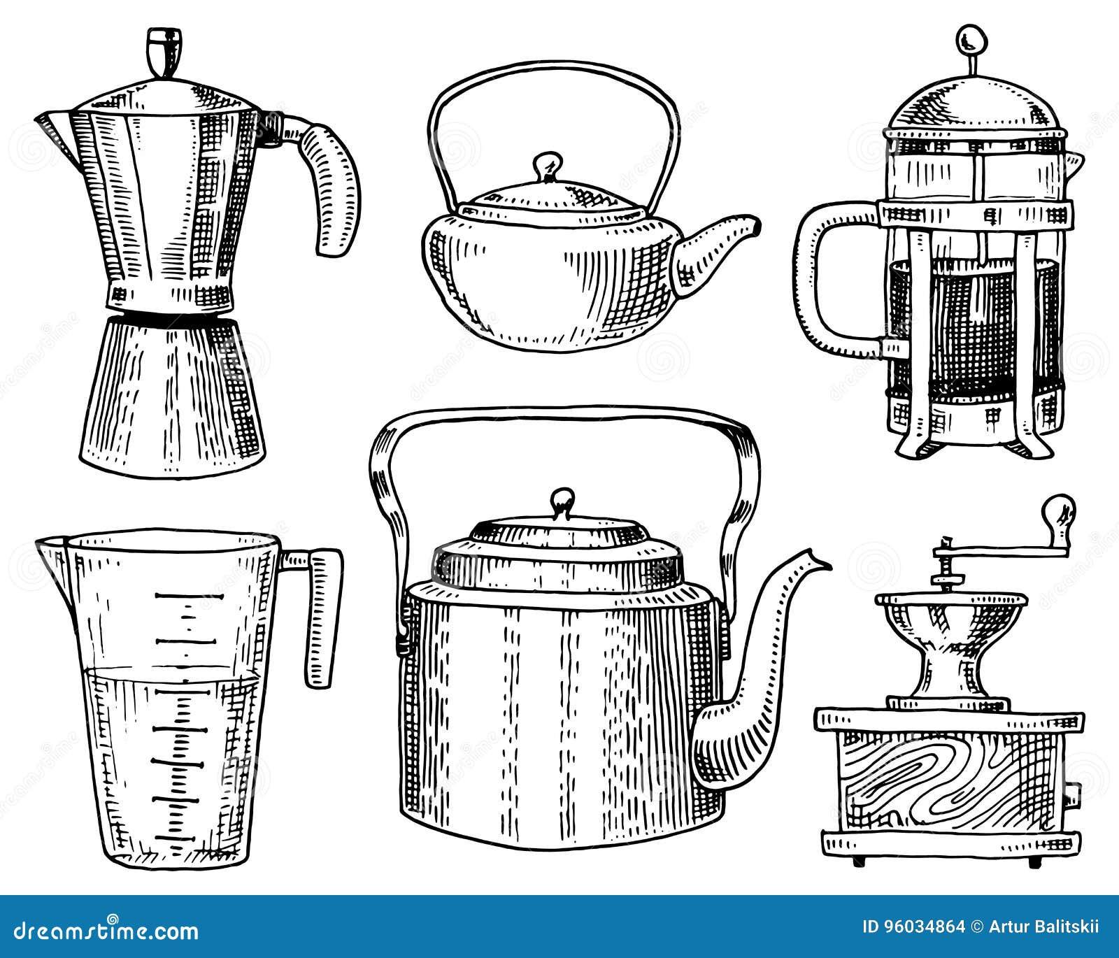 Kawowy producent, ostrzarz, francuz prasa, pomiarowa pojemność, Chiński teapot lub czajnik, Szefa kuchni i kuchni naczynia, gotuj