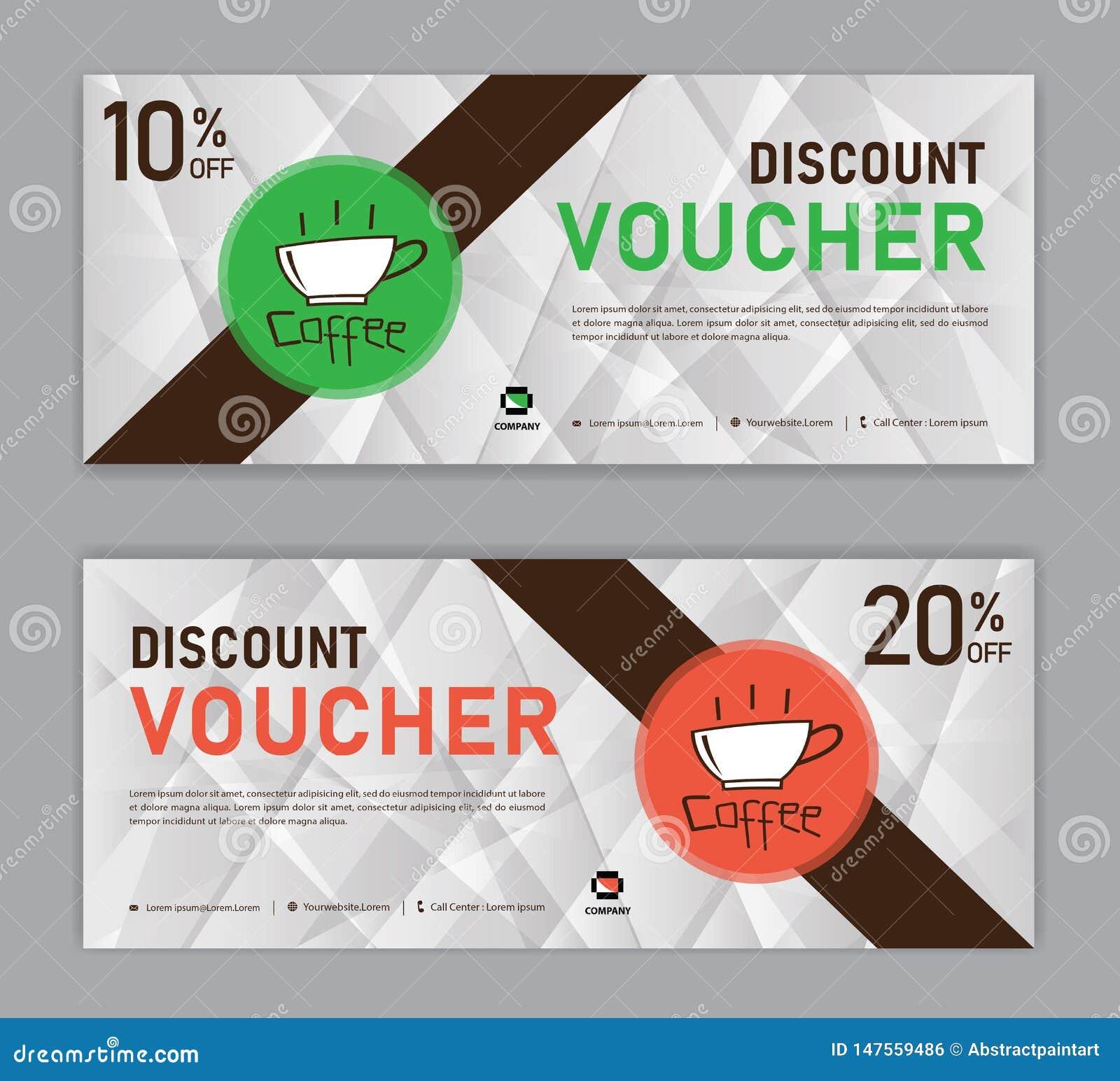 Kawowy talonu rabata szablon, prezenta alegat, etykietka, sztandar, reklama, biznesowy wektor