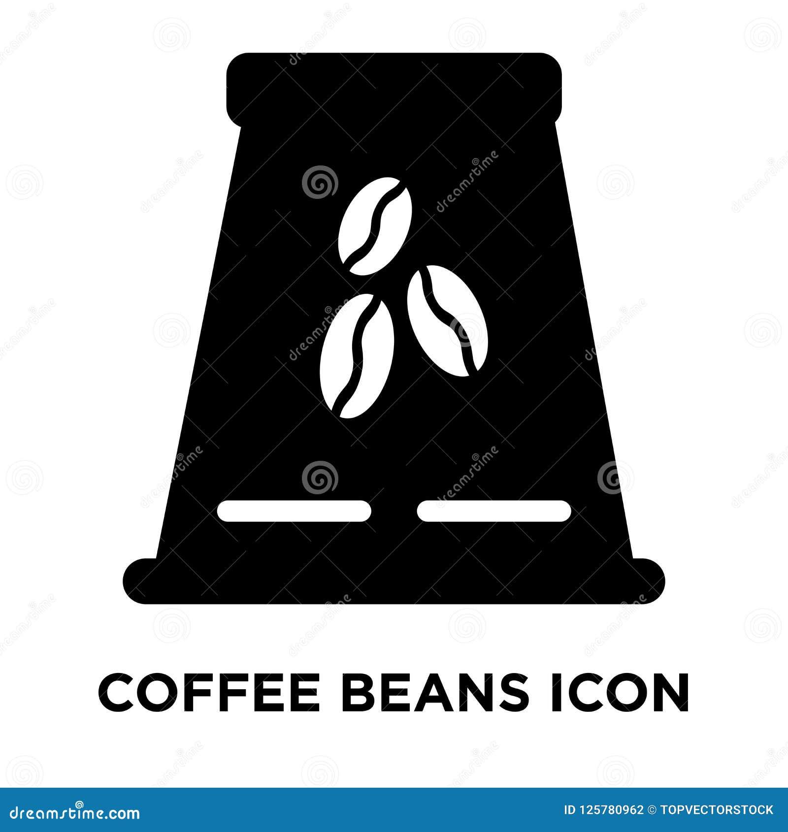 Kawowych fasoli ikony wektor odizolowywający na białym tle, logo conc
