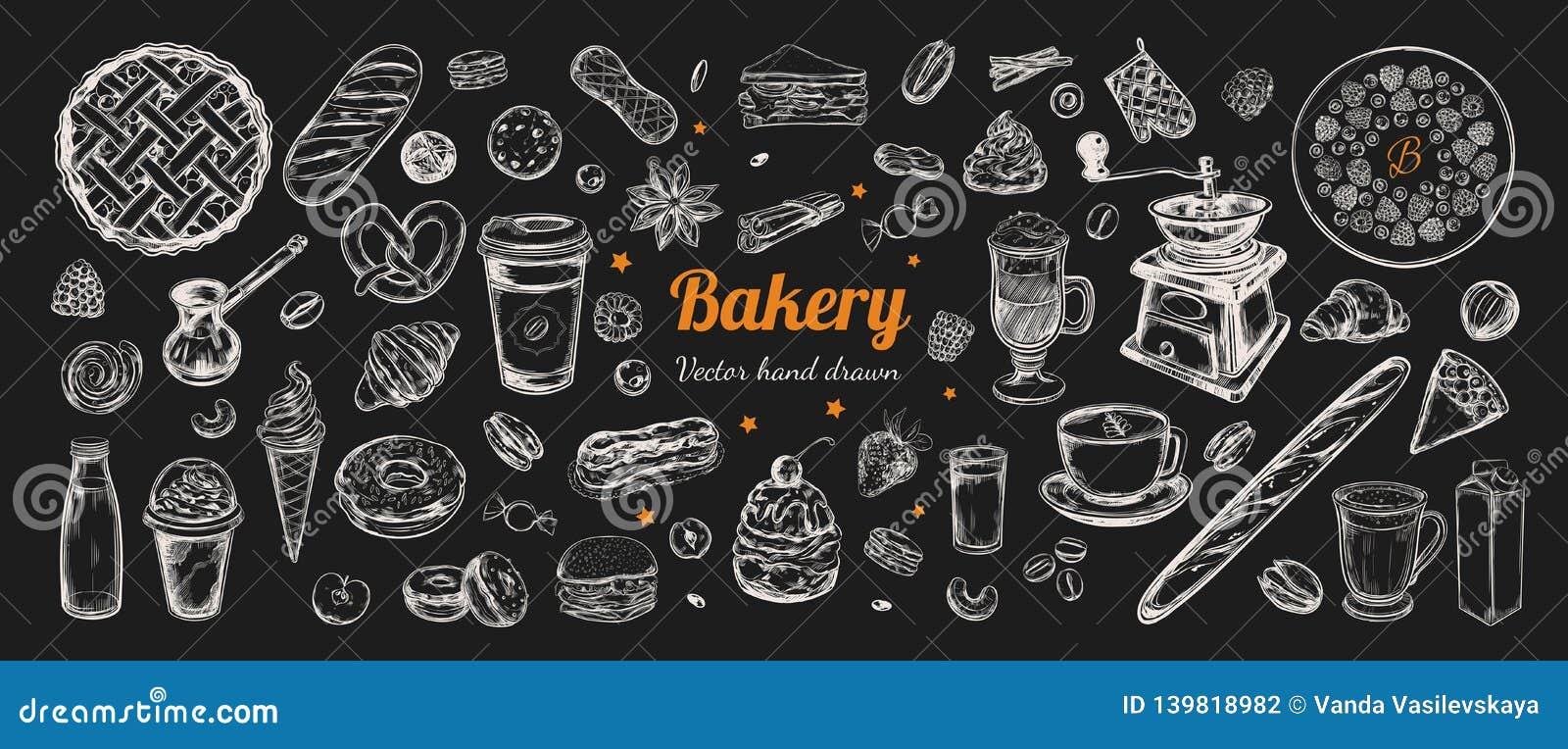 Kawy i piekarni wektorowa ręka rysująca, elementy