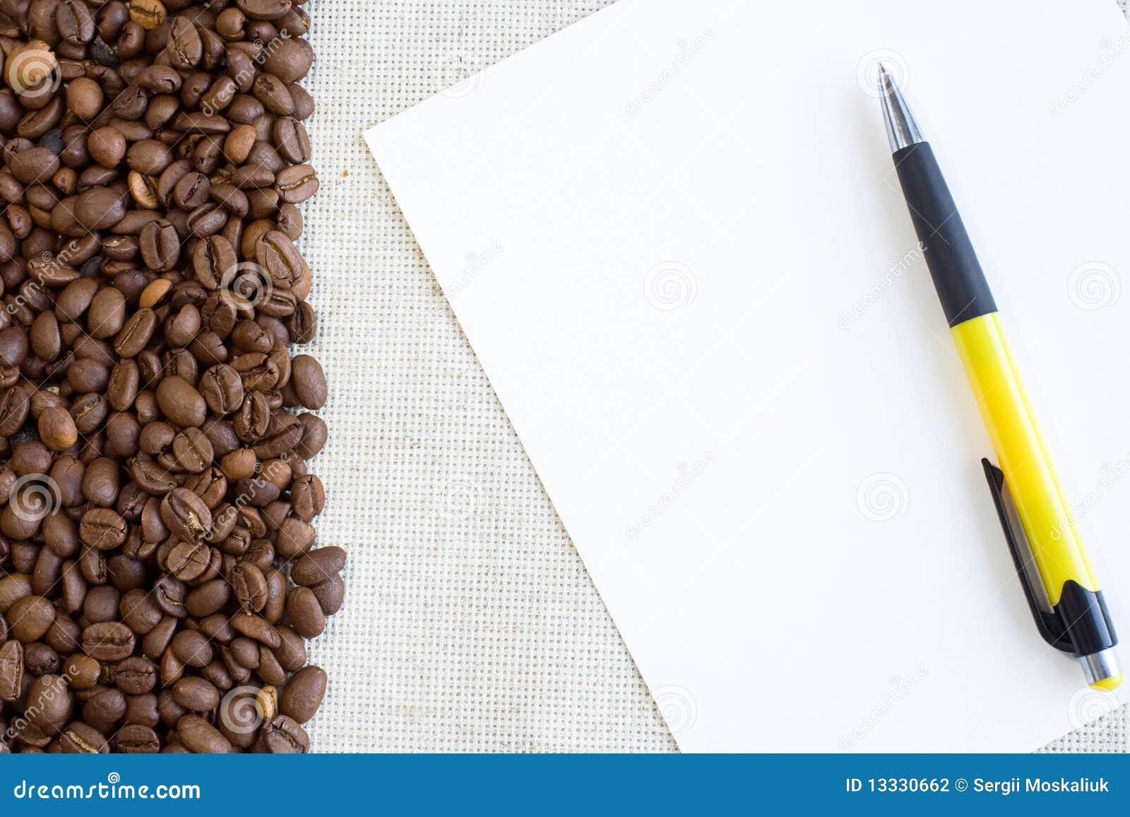 Kawy papieru pióra prześcieradło