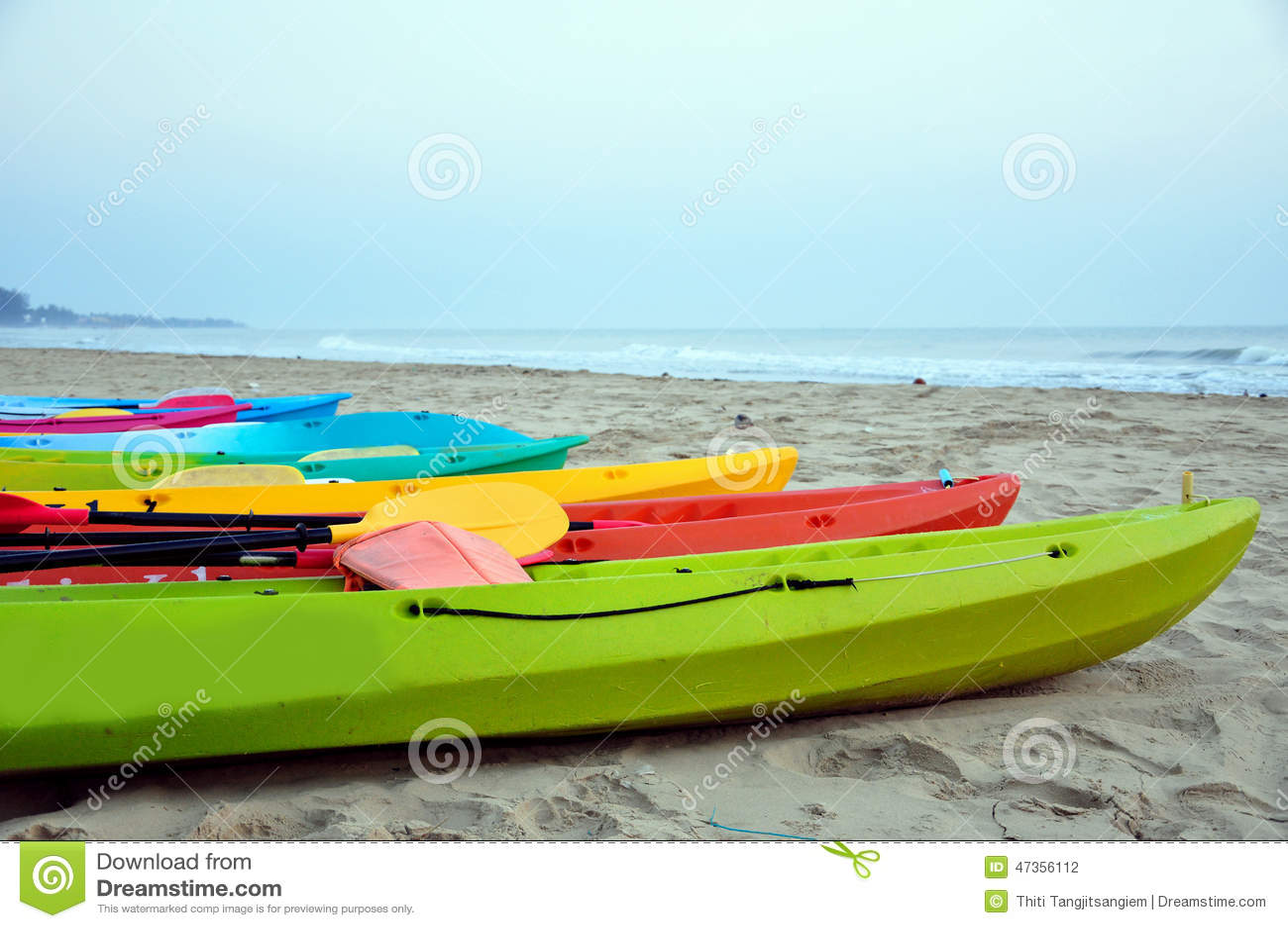 Kayak In The Beach Stock Photo  Image 47356112