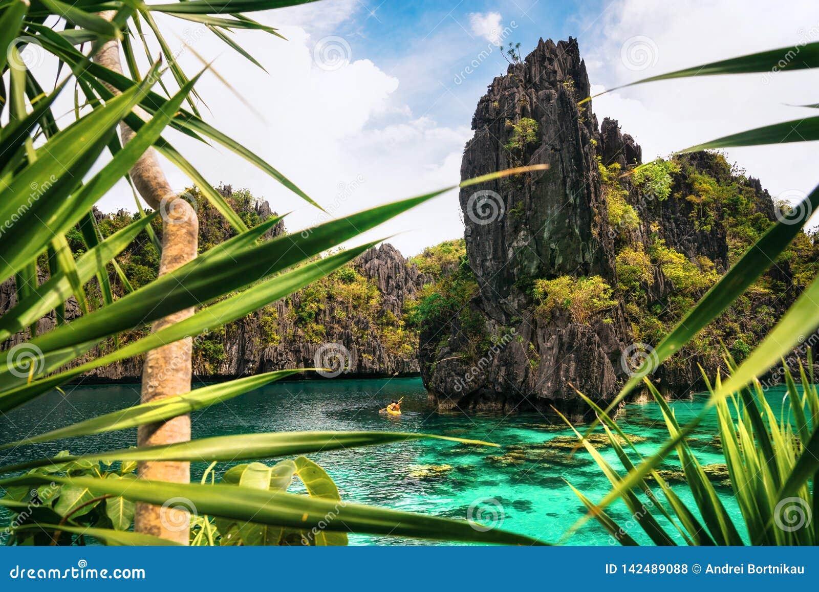 Kayak In The Big Lagoon El Nido Palawan Philippines Stock