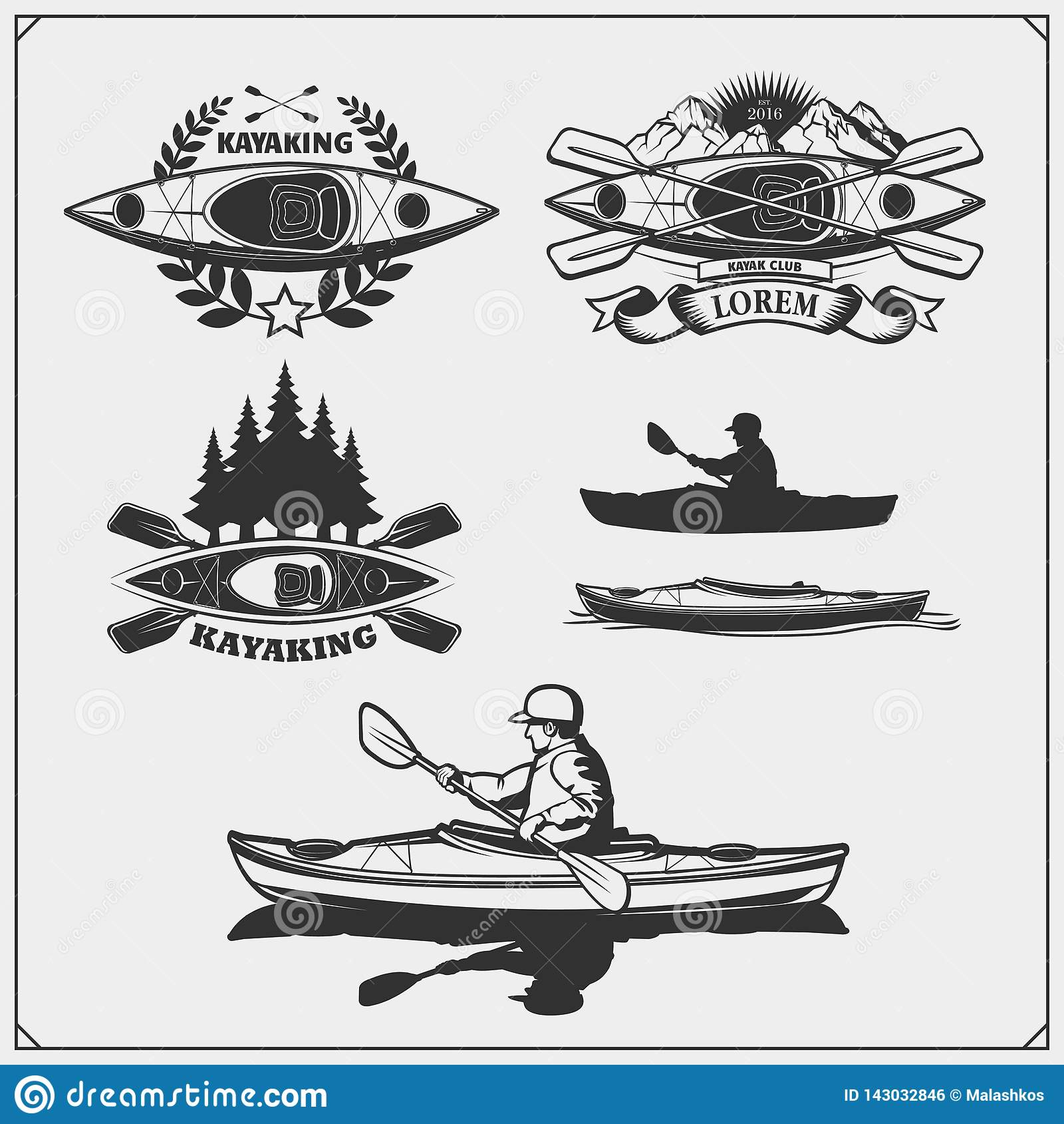 Kayak and canoe emblems, labels, badges and design elements. Print design for t-shirts.