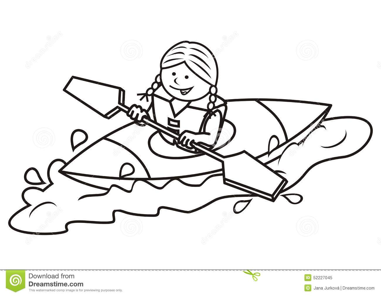 Kayak And Girl Coloring Book Stock Vector Image 52227045