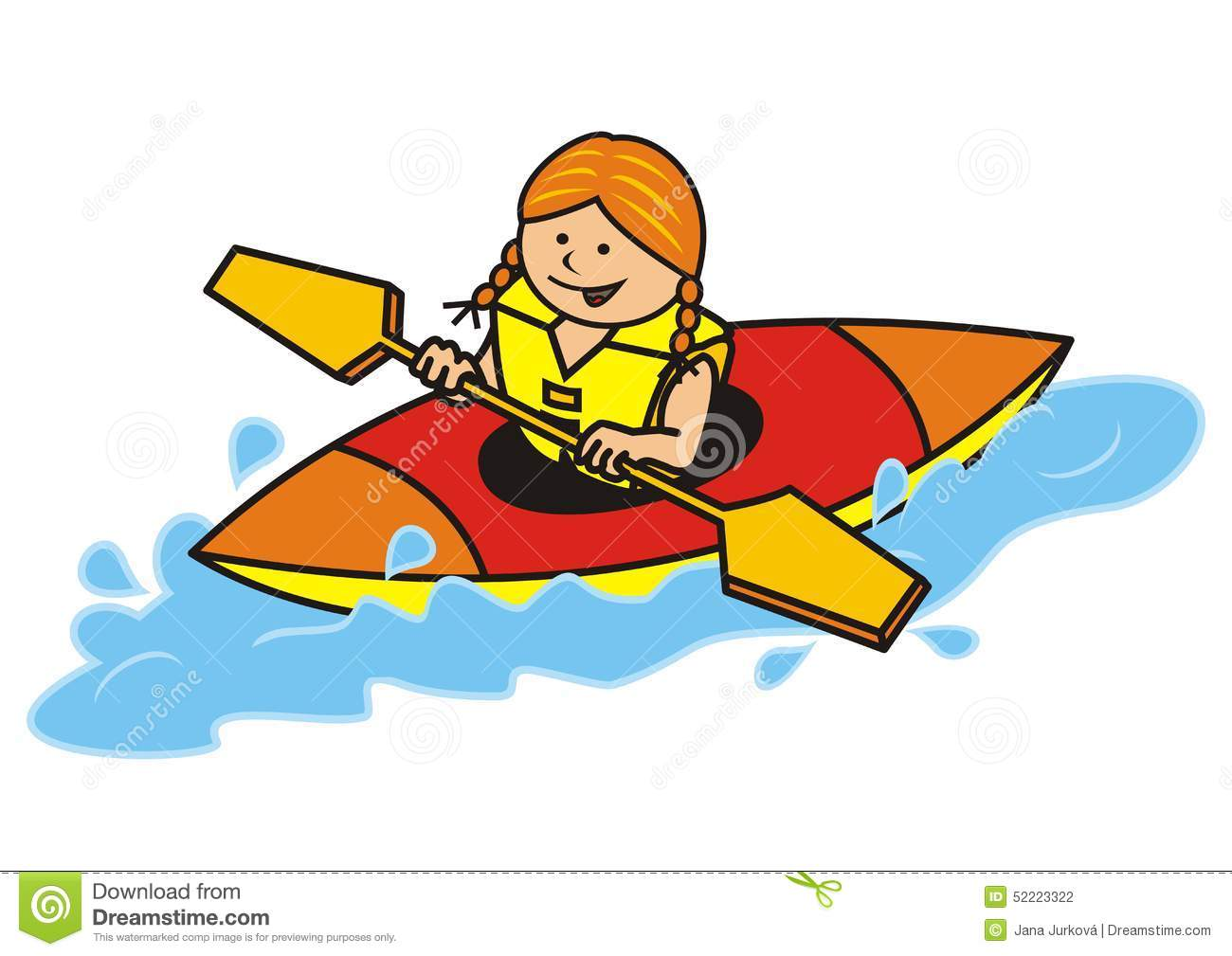 Kayak, girl stock vector. Illustration of competition ...