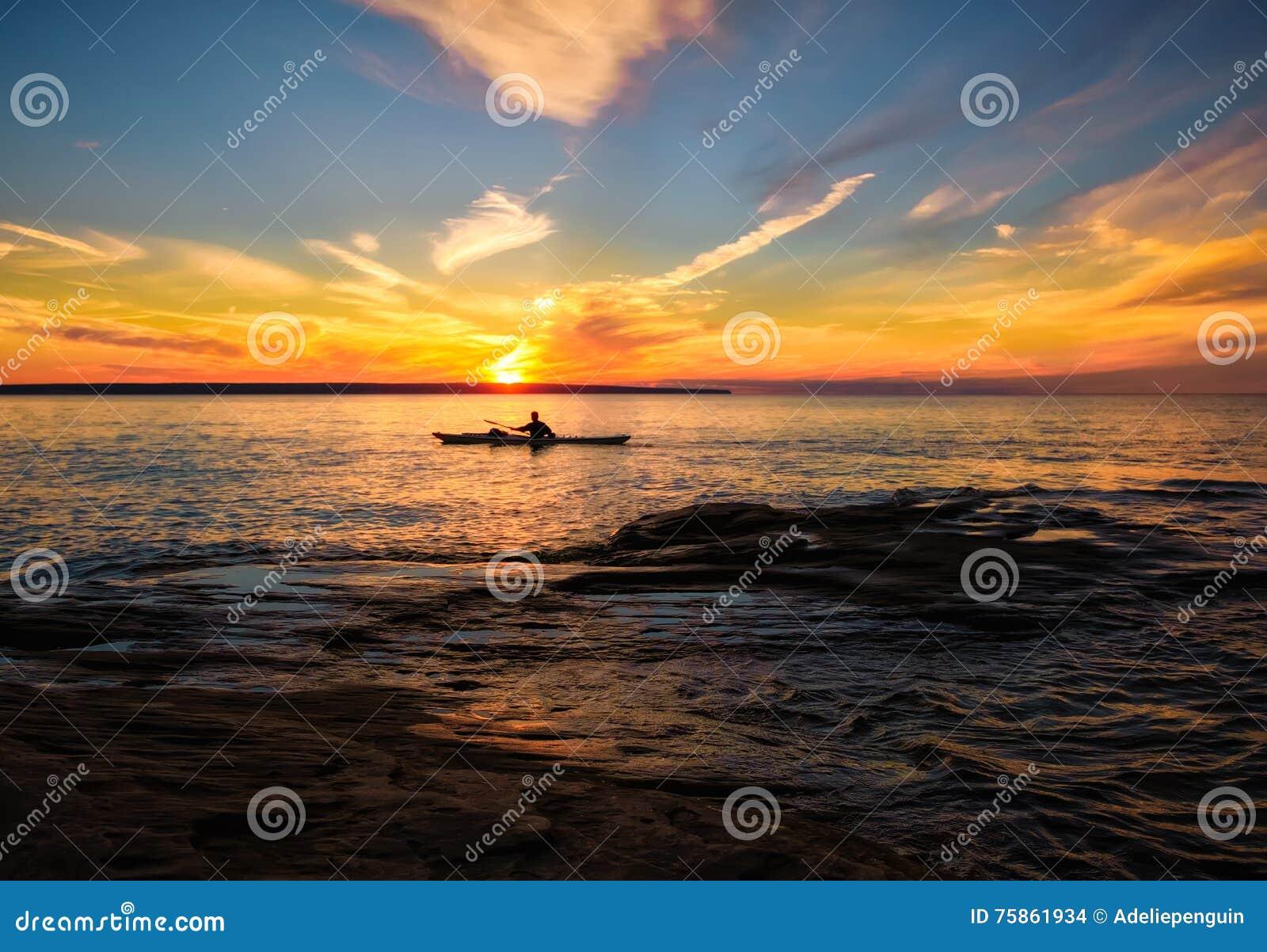 Kayaking Lake Superior in Summer, Michigan