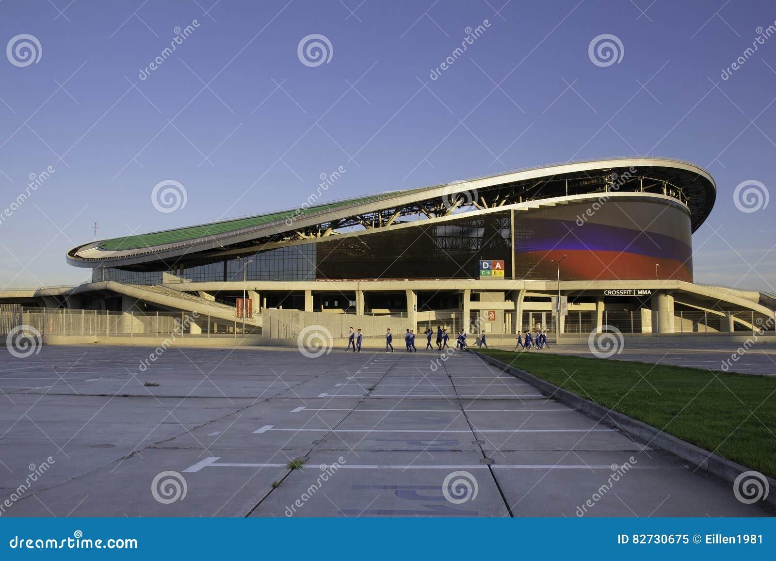 KAZÁN, RUSIA - 27 DE AGOSTO DE 2016: Se divierte la arena compleja de Kazán, Kaz