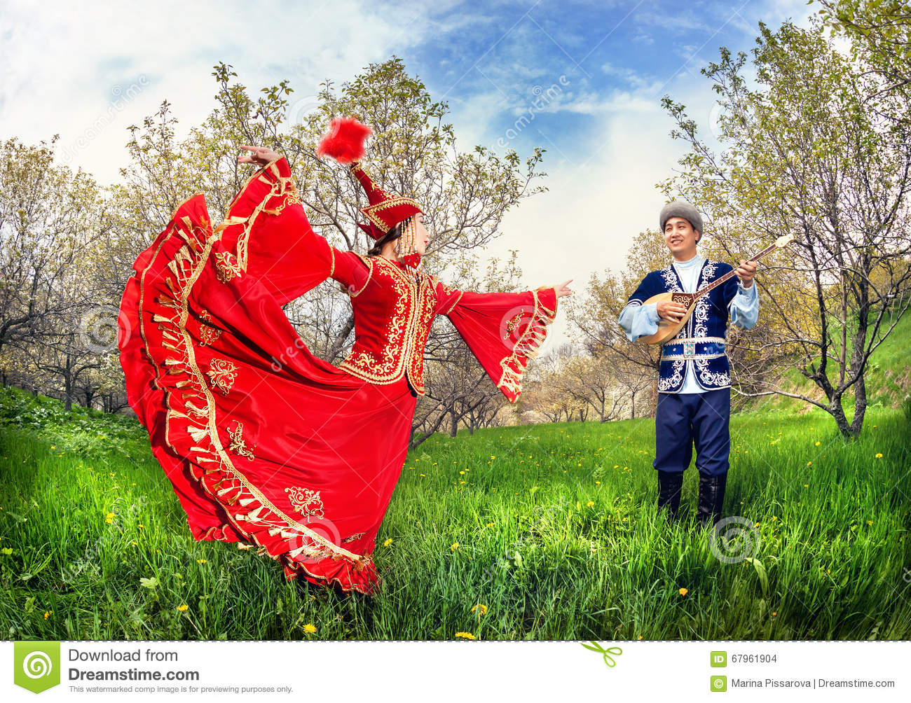 Download Kazakh Couple In Traditional Costume Stock Photo - Image of blooming, dance: 67961904