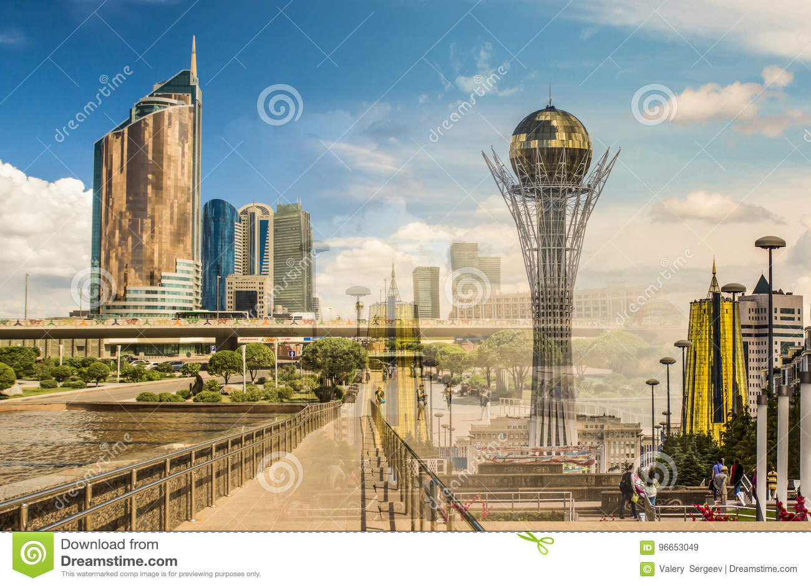 Kazakhstan astana Nurzhol Boulevard collage