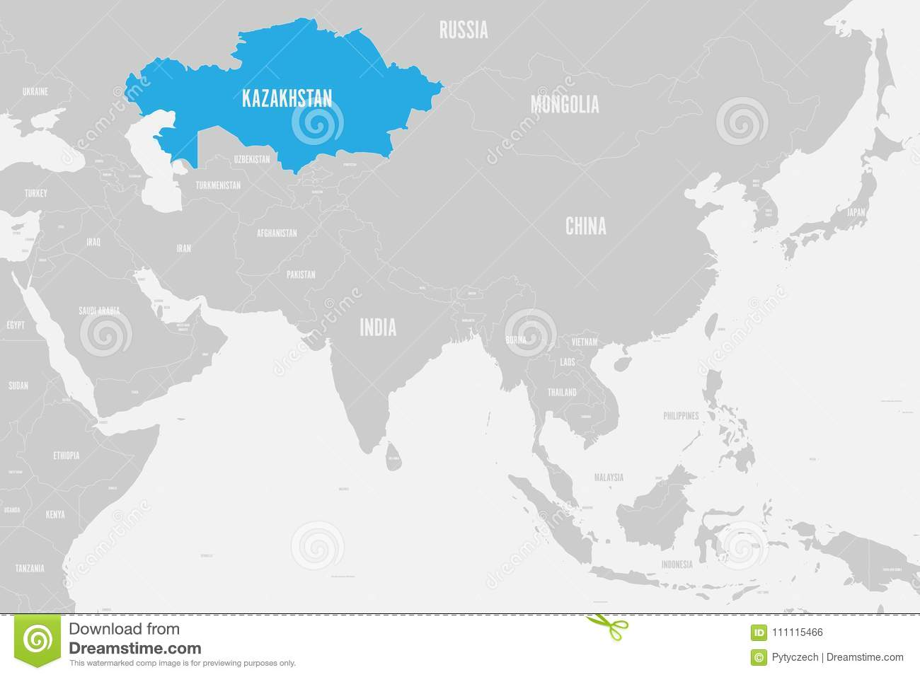 Kazakhstan blue marked in political map of southern asia vector download comp gumiabroncs Choice Image