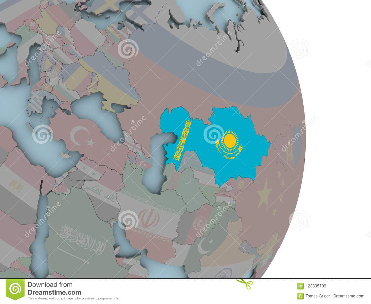 Kazakhstan Political Map.Map Of Kazakhstan On Political Globe With Flag Stock Illustration