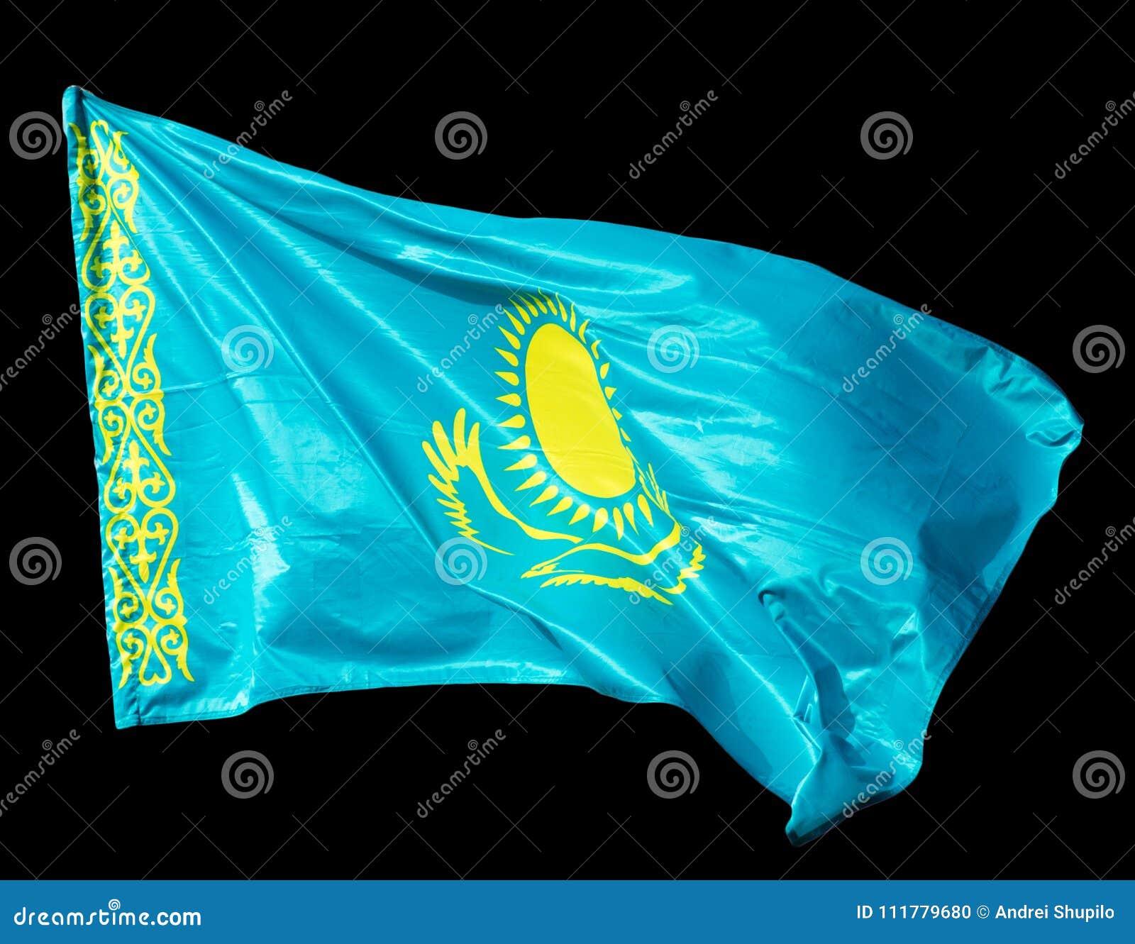 Kazakhstan flag on a black background