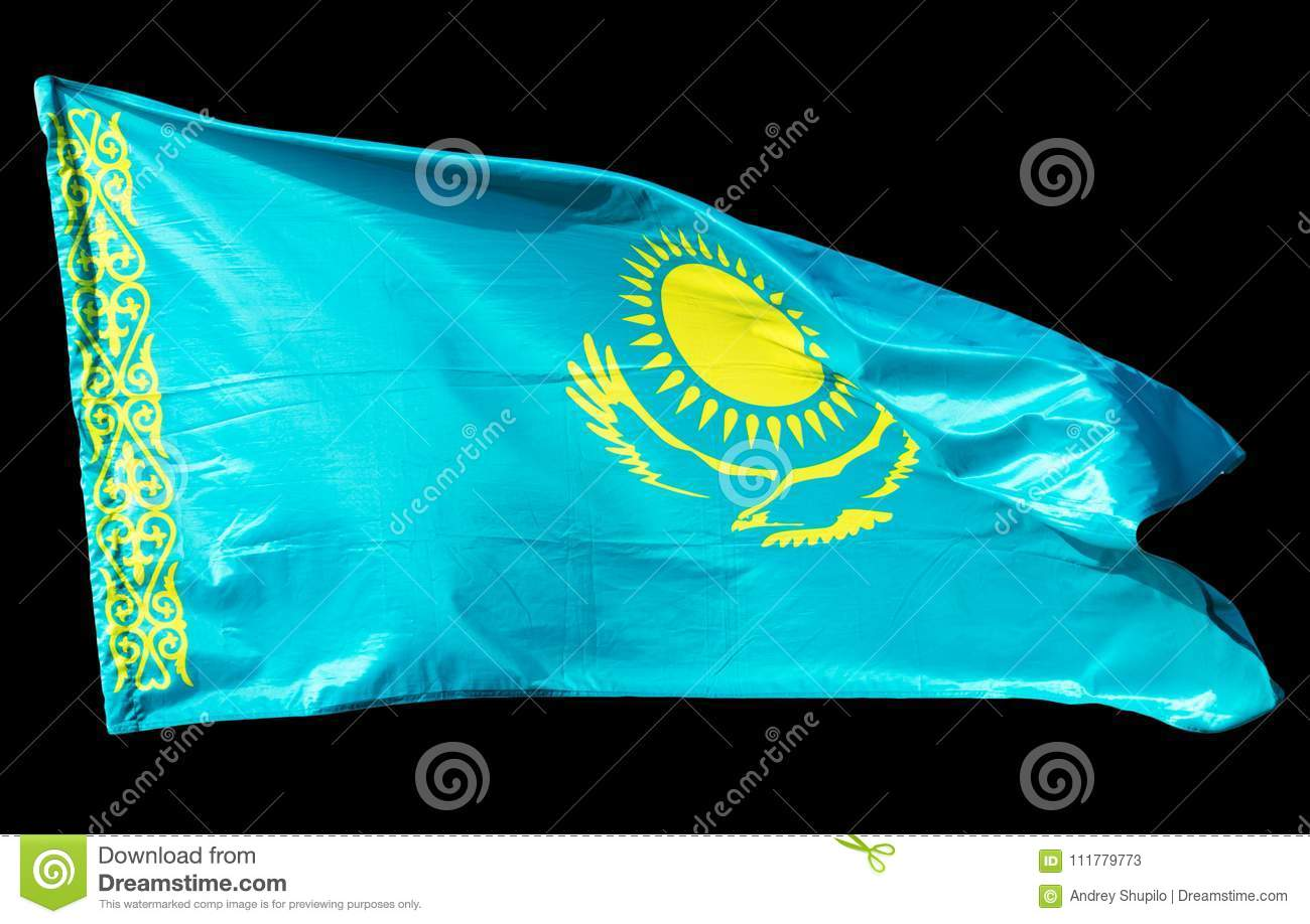 Kazakhstan flag on a black background