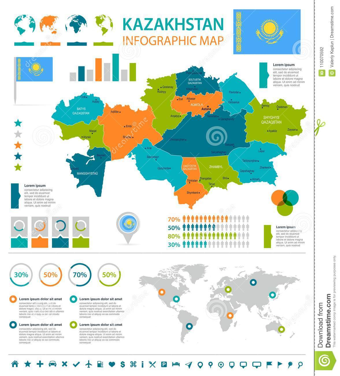 Kazakhstan - Infographic Map And Flag - Detailed Vector ...