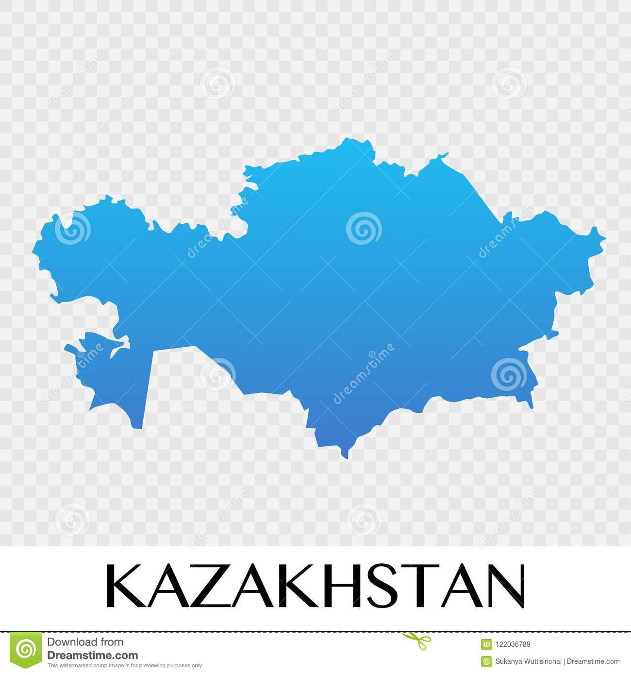 Map Of Asia Continent.Kazakhstan Map In Asia Continent Illustration Design Stock Vector