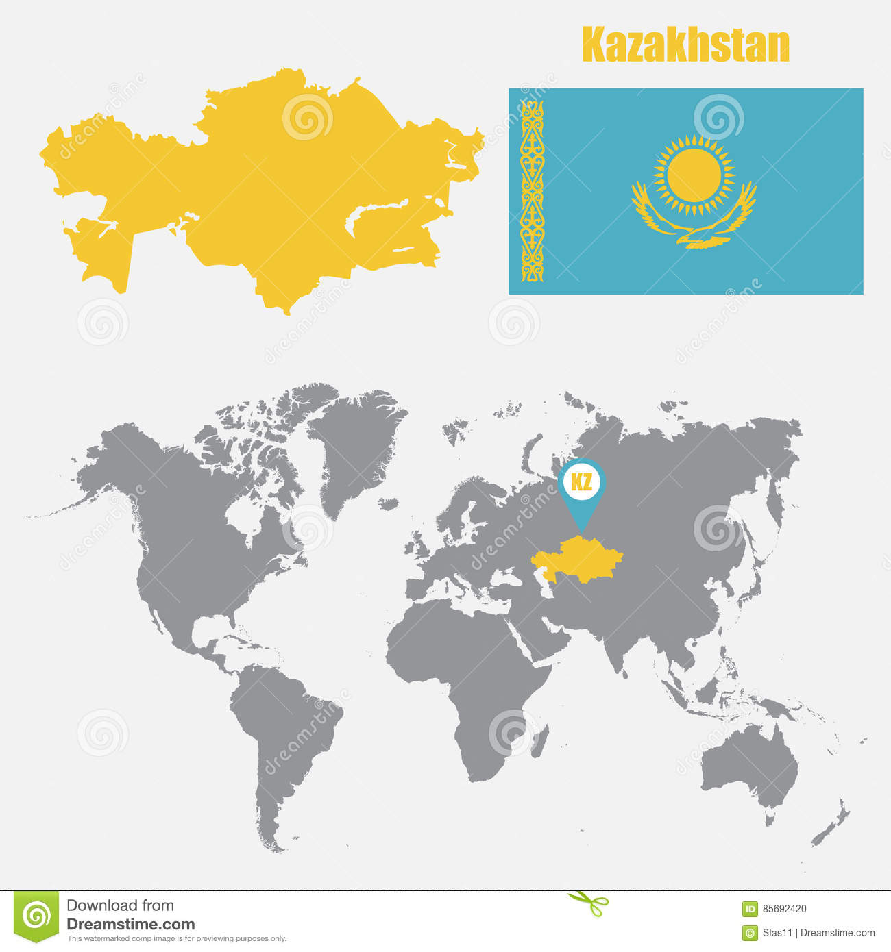 Kazakhstan map on a world map with flag and map pointer vector download kazakhstan map on a world map with flag and map pointer vector illustration stock gumiabroncs Images
