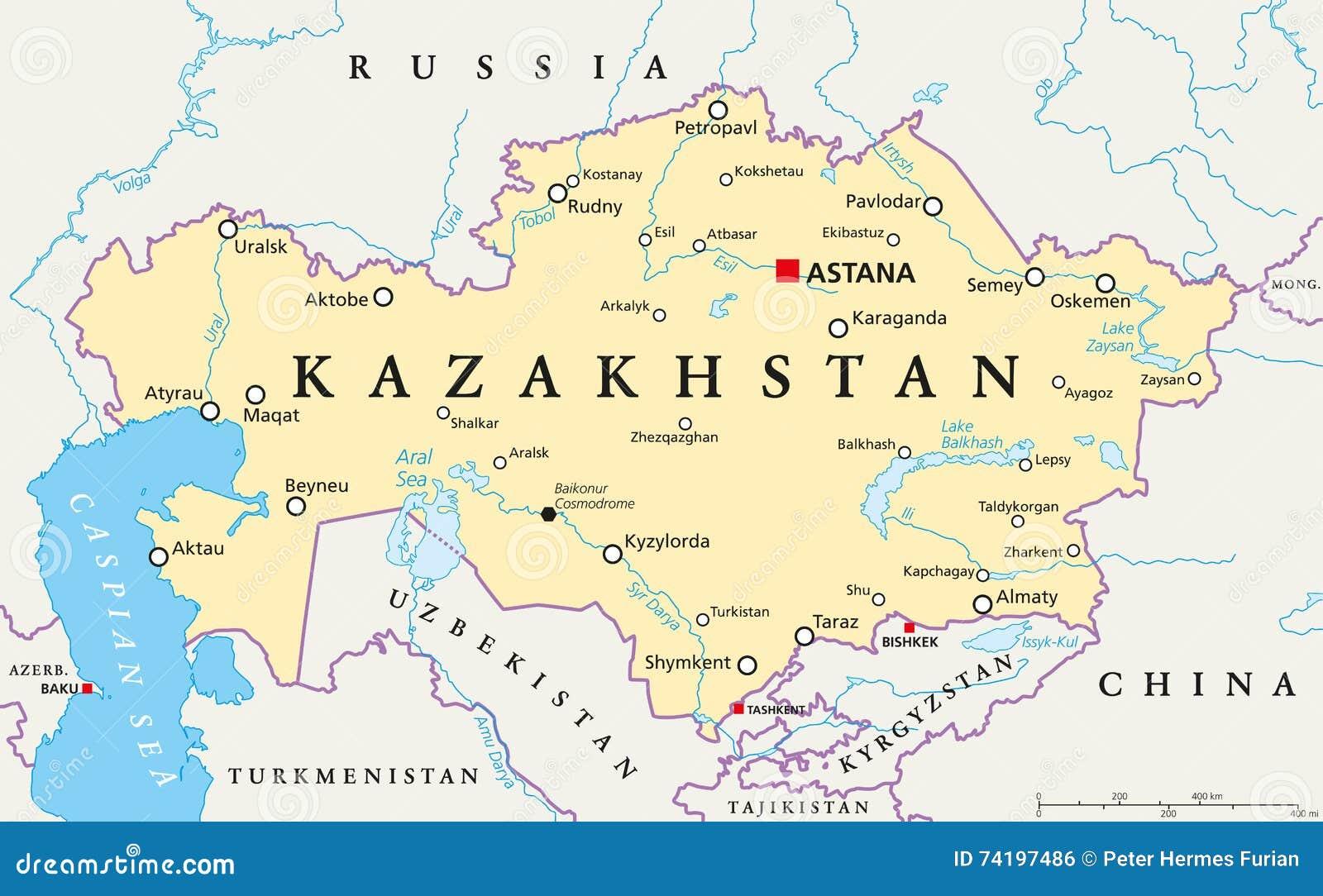 Kazakhstan Political Map Stock Vector Image - Kazakhstan map