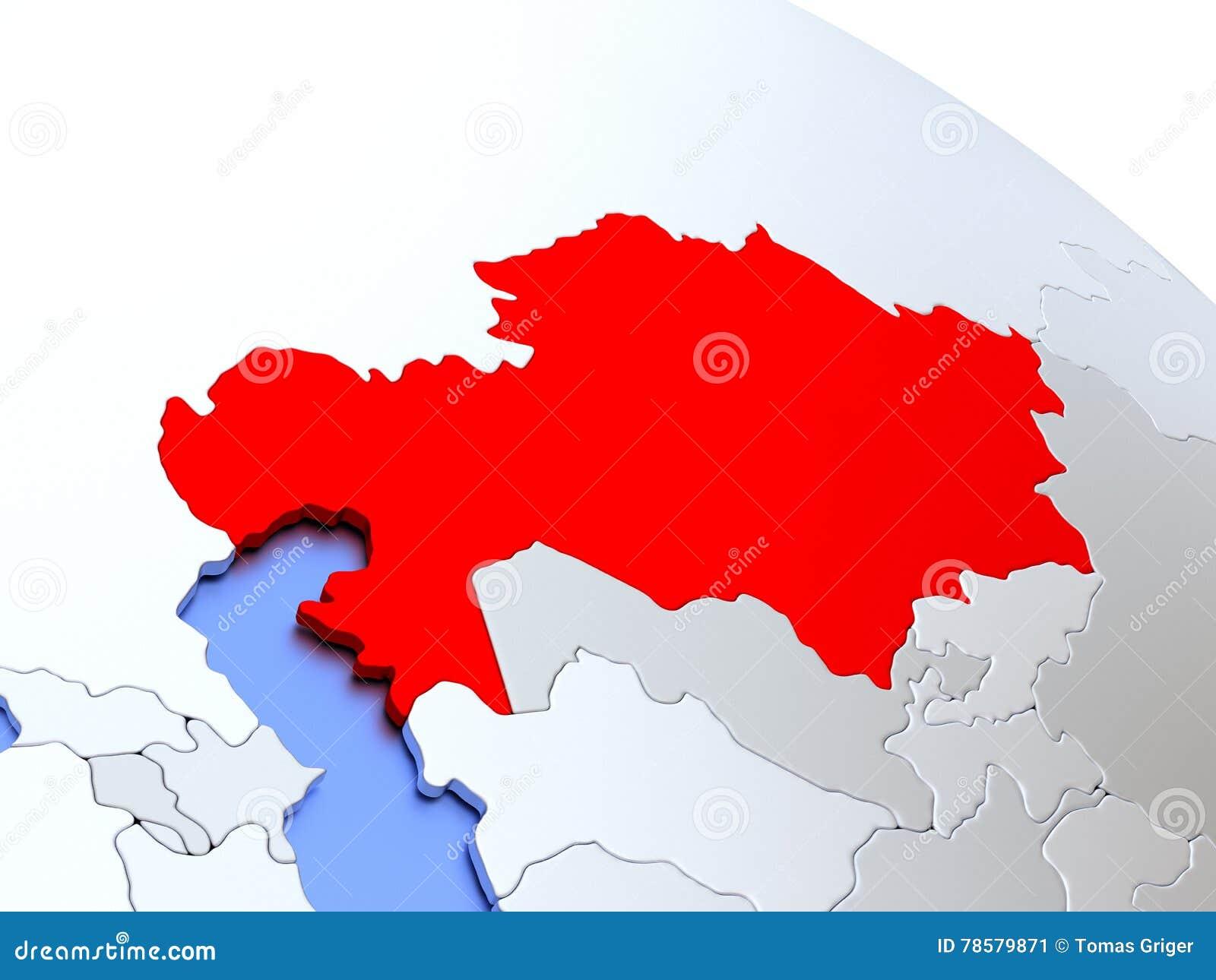 Kazakhstan On World Map Stock Illustration Illustration Of Render