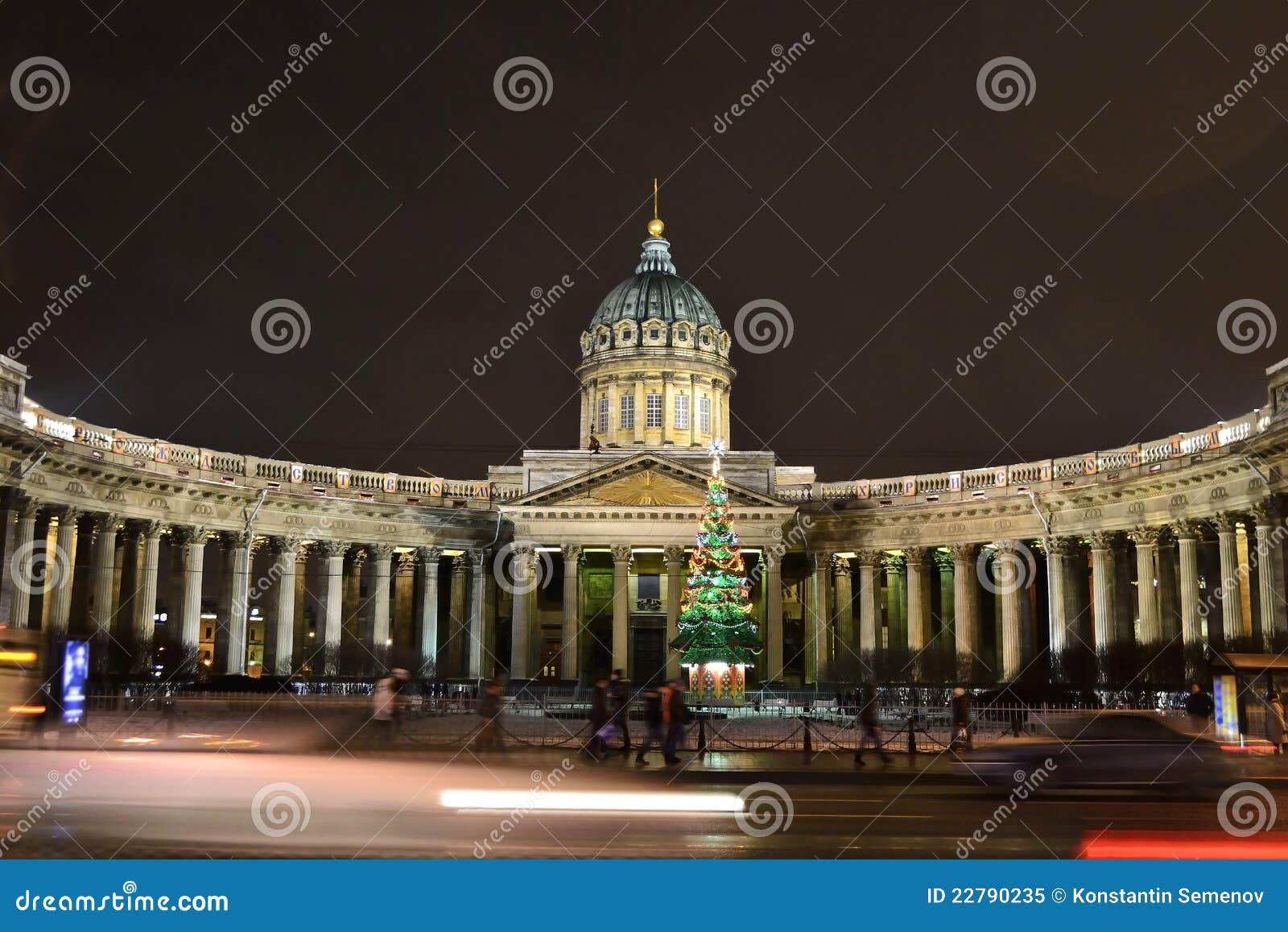 Kazan καθεδρικός ναός στη Αγία Πετρούπολη τή νύχτα