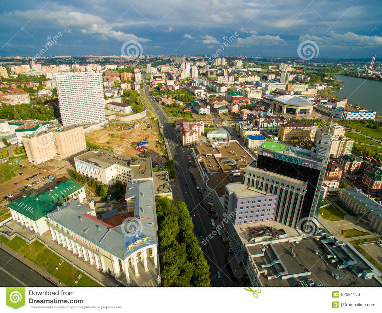 Kazan Aerial View Center Of City At Grand Hotel Stock Photo Image Of City Cityscape 82684156