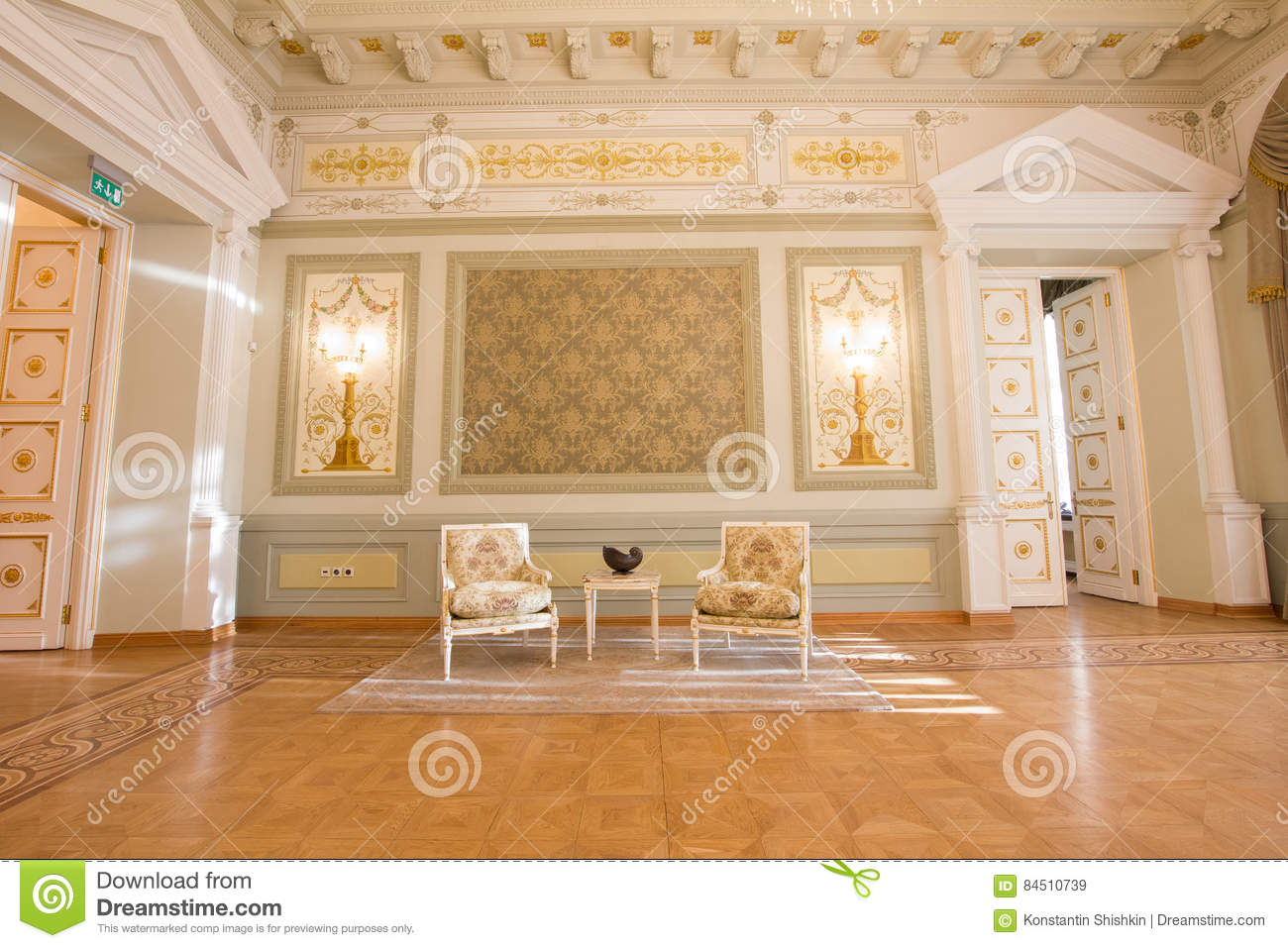 KAZAN, RUSSIA - 16 JANUARY 2017, City Hall - luxury and beautiful touristic place - antique furniture in the interior