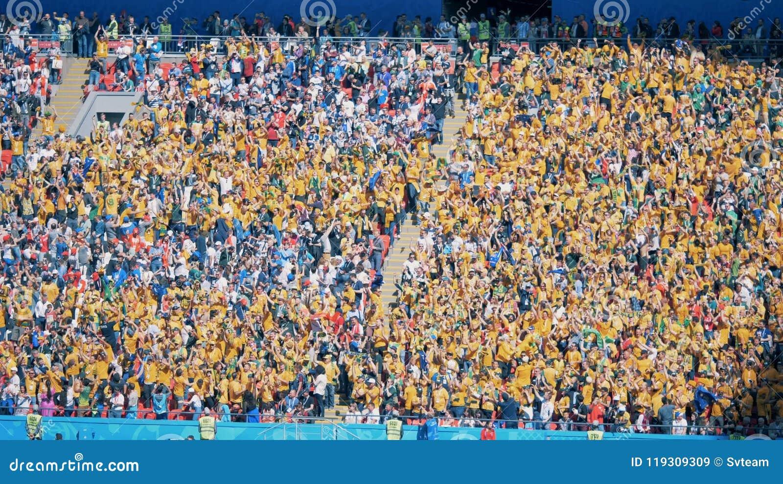 Kazan, RUSSIA - JUN 16, 2018: Many australian fans on a grandstand. on