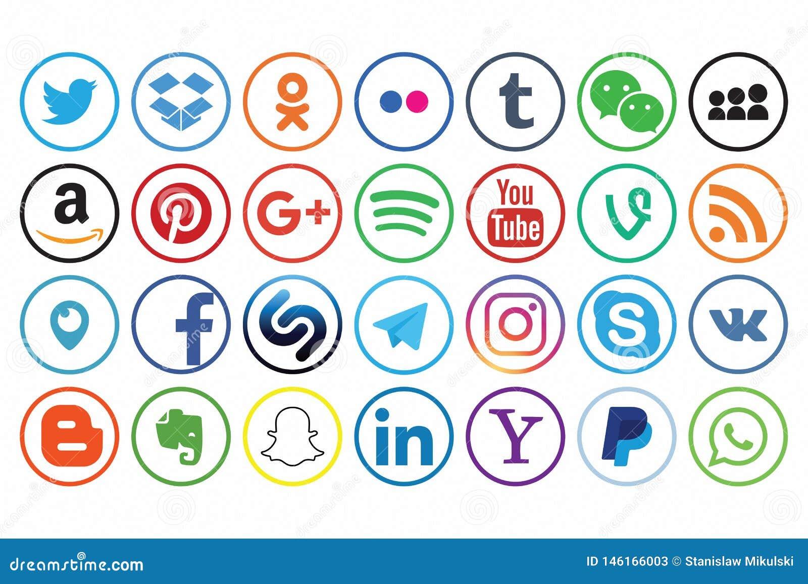 And logos social names media A
