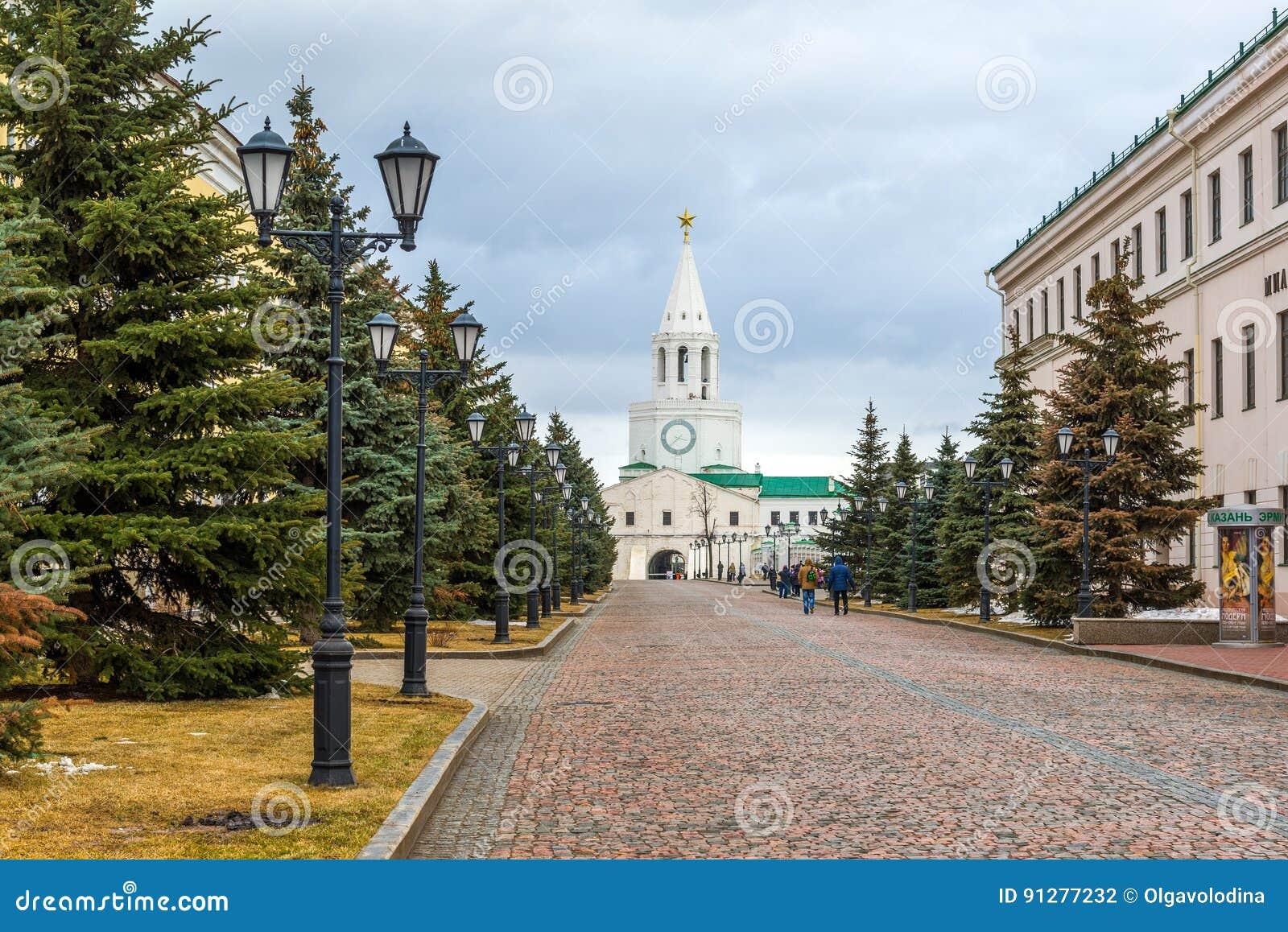 Kazan Ryssland - Mars 26 2017 Sikt av territoriet av Kreml
