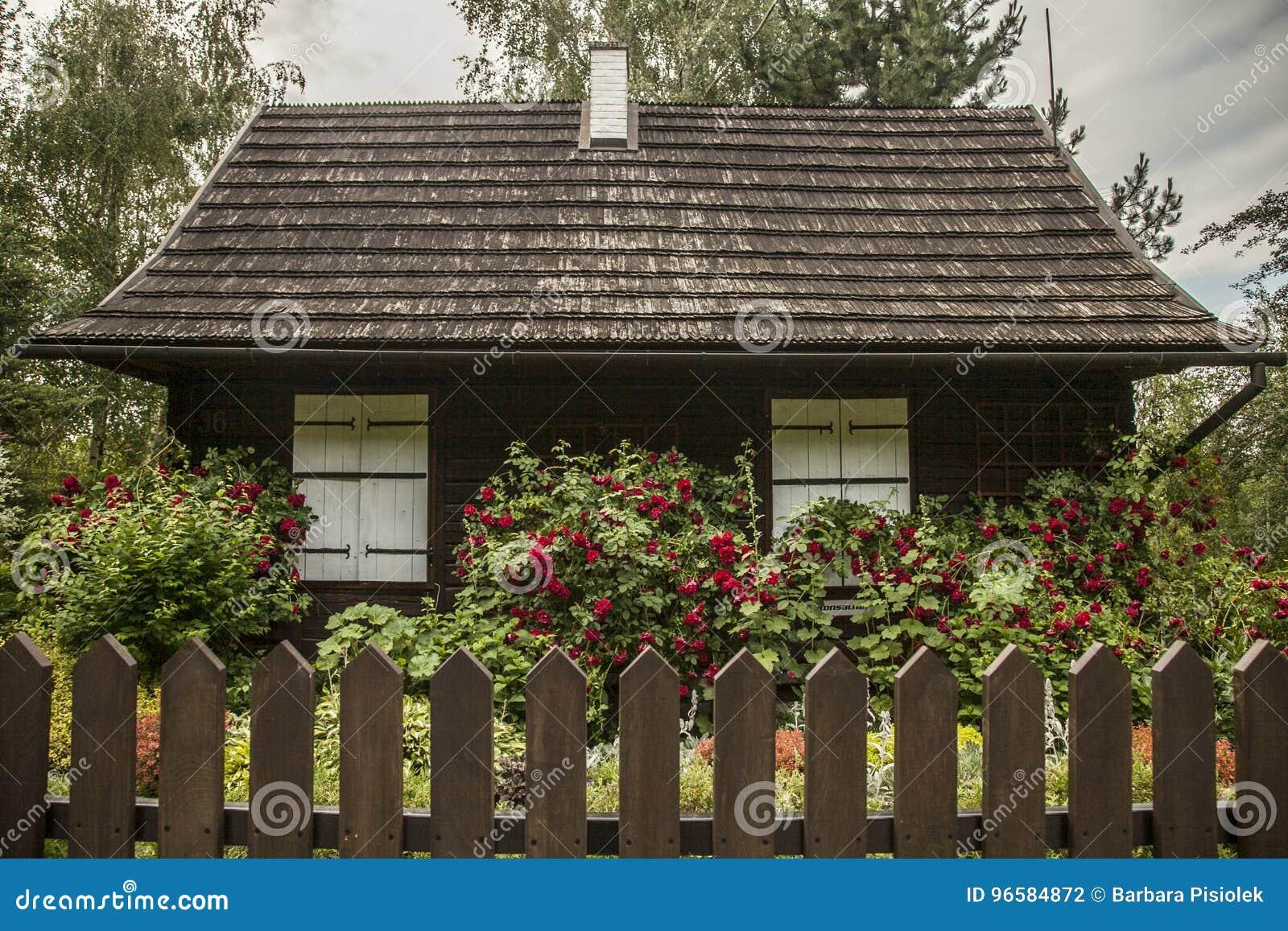 Kazimierz Dolny, Poland - an old house in a garden/fence.
